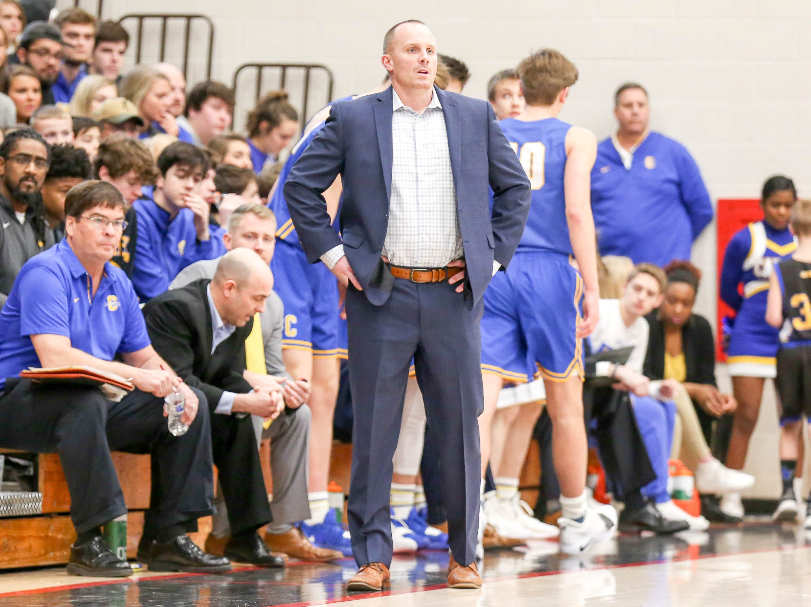 Carmel Coach Ryan Osborn watches as his team struggled in finding the basket during the first quarter in the first half of Carmel vs. Fort Wayne Northrop High School in the IHSAA Varsity Boys Regional Semifinals held at Logansport High School, March 9, 2019.