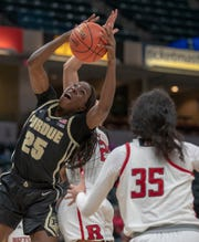 Tamara Farquhar of the Purdue Boilermakers comes up with a rebound, Rutgers vs. Purdue, Women's Big Ten Tournament, Bankers Life Fieldhouse, Indianapolis, Friday, March 8, 2019. Rutgers won 64-49,.