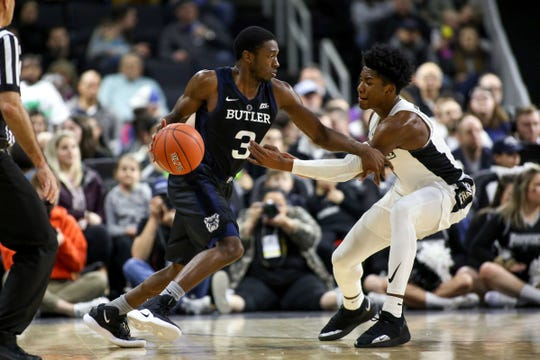 Butler Bulldogs guard Kamar Baldwin (3) drives to the basket defended by Providence College Friars guard A.J. Reeves (10) during the second half at Dunkin Donuts Center.