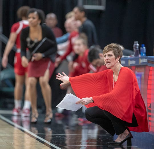 Teri Moren, Head Coach of Indiana, during game action, Indiana vs. Iowa, Women's Big Ten Tournament, Bankers Life Fieldhouse, Indianapolis, Friday, March 8, 2019. Iowa won 70-61.