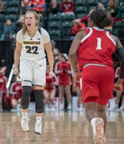 Kathleen Doyle of the Iowa Hawkeyes yells after a late game three pointer that helped put the ball away for Iowa, Indiana vs. Iowa, Women's Big Ten Tournament, Bankers Life Fieldhouse, Indianapolis, Friday, March 8, 2019. Iowa won 70-61.