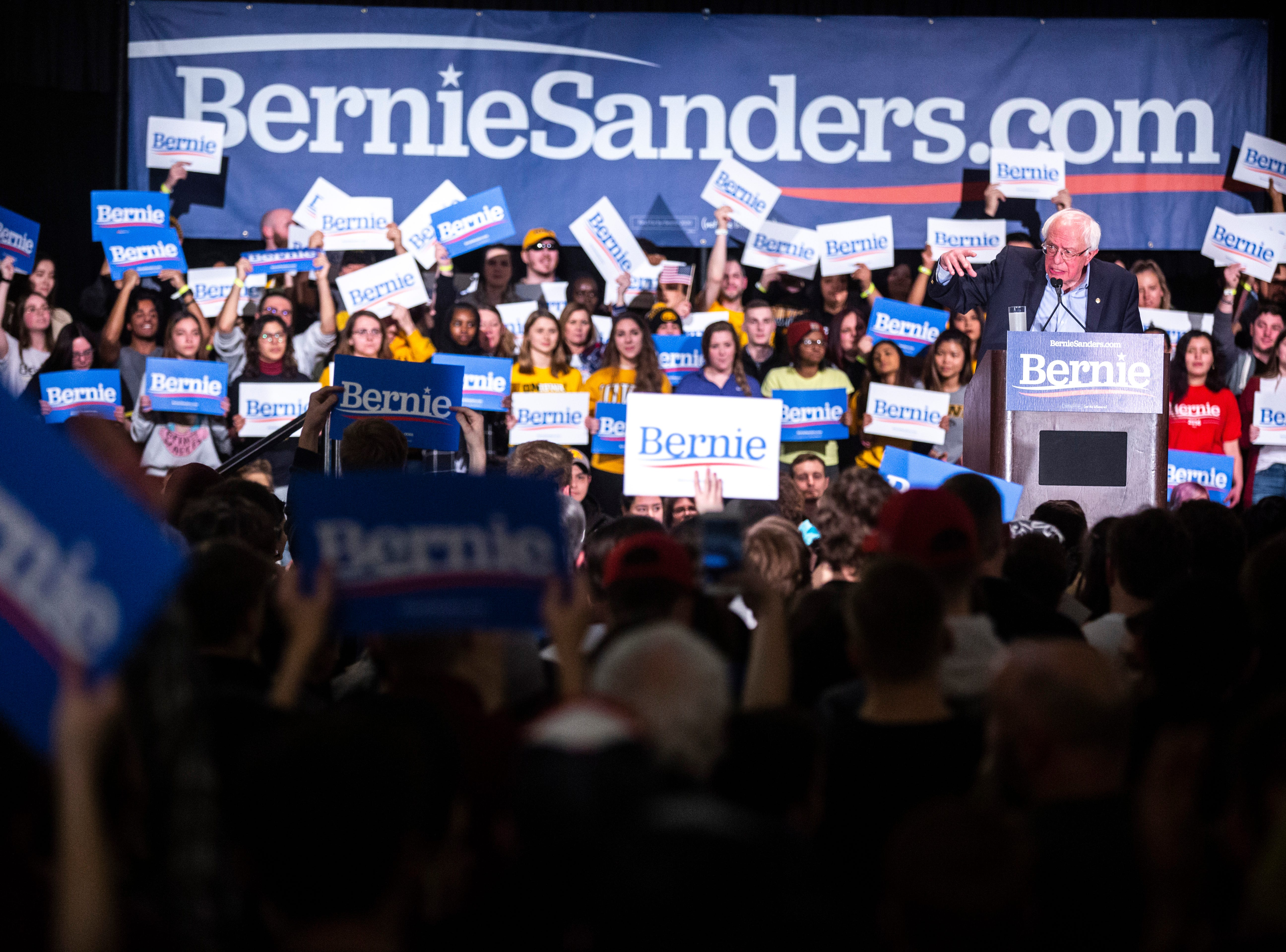U.S. Sen. Bernie Sanders, I-VT, speaks at an event during his first trip to the state ahead of the caucus, Friday, March 8, 2019, at the Iowa Memorial Union on the University of Iowa campus in Iowa City, Iowa.
