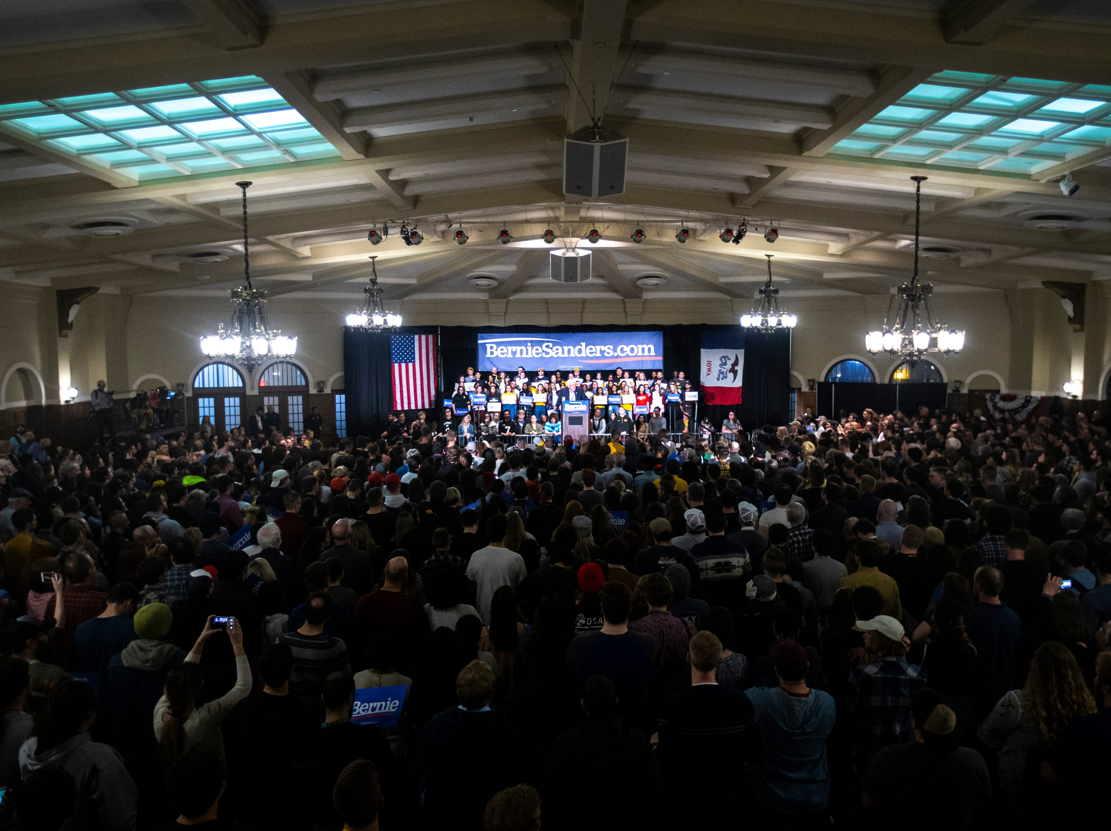 U.S. Sen. Bernie Sanders, I-VT, speaks at an event during his first trip to the state ahead of the caucus, Friday, March 8, 2019, at the Iowa Memorial Union on the University of Iowa campus in Iowa City, Iowa. The official crowd size from the campaign was 1,804, including the overflow crowd that Sanders spoke to before his main speech.