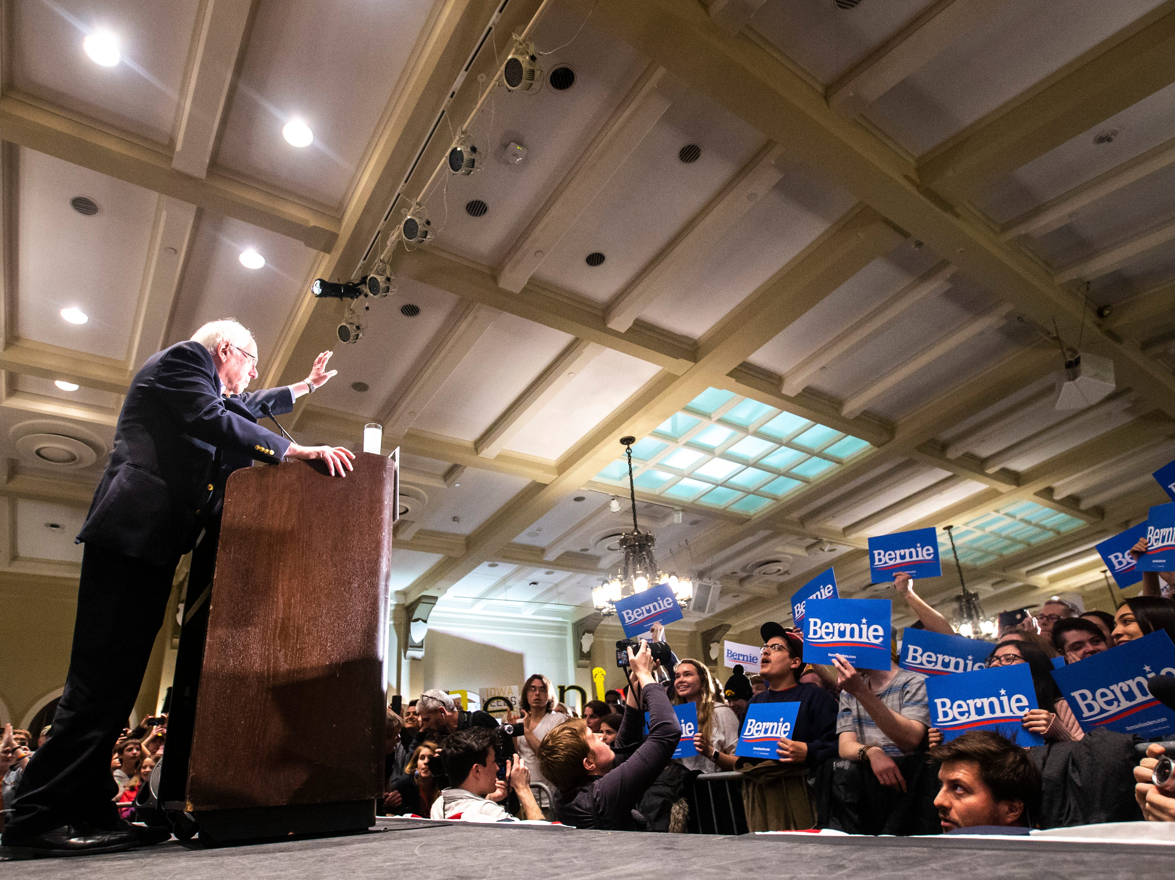 U.S. Sen. Bernie Sanders, I-VT, waves to supporters while speaking at an event during his first trip to the state ahead of the caucus, Friday, March 8, 2019, at the Iowa Memorial Union on the University of Iowa campus in Iowa City, Iowa.