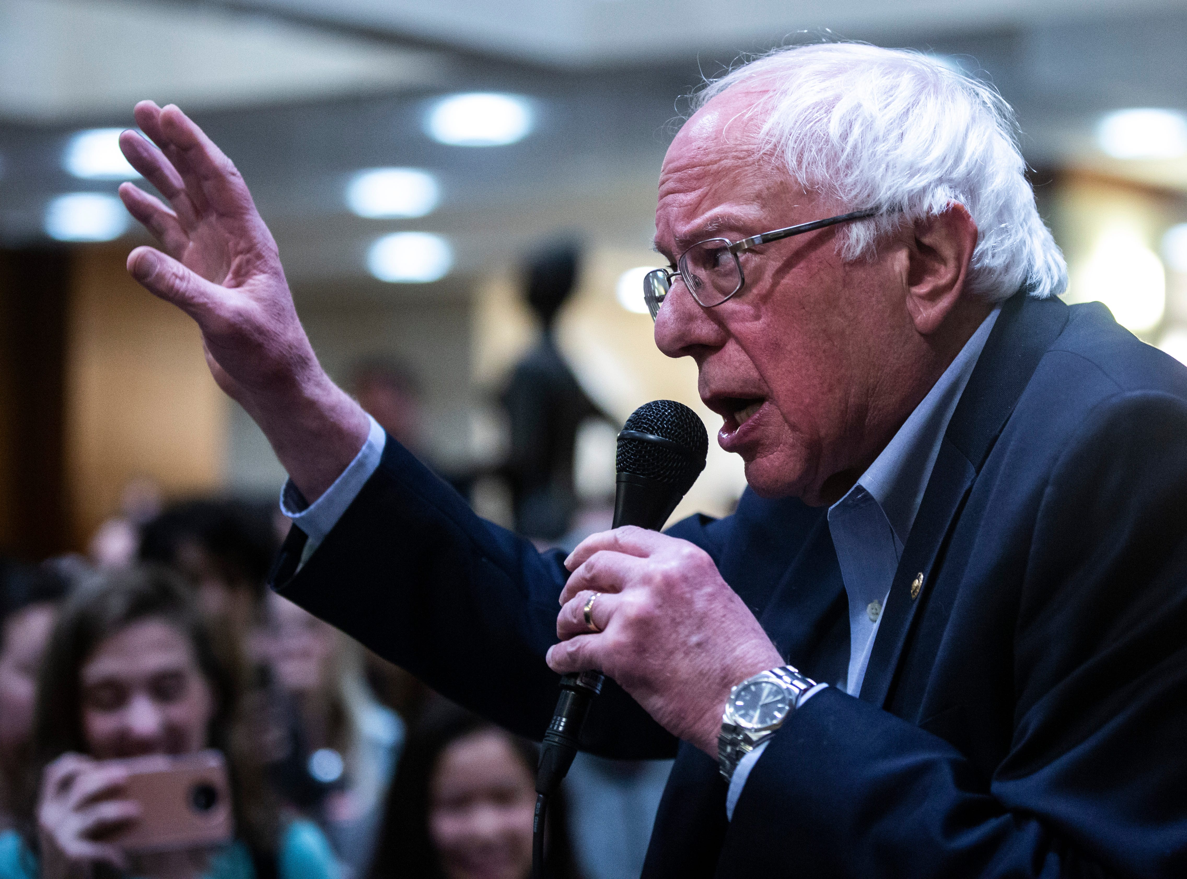 U.S. Sen. Bernie Sanders, I-VT, speaks to more than 400 members of the overflow crowd at an event during his first trip to the state ahead of the caucus, Friday, March 8, 2019, at the Iowa Memorial Union on the University of Iowa campus in Iowa City, Iowa.