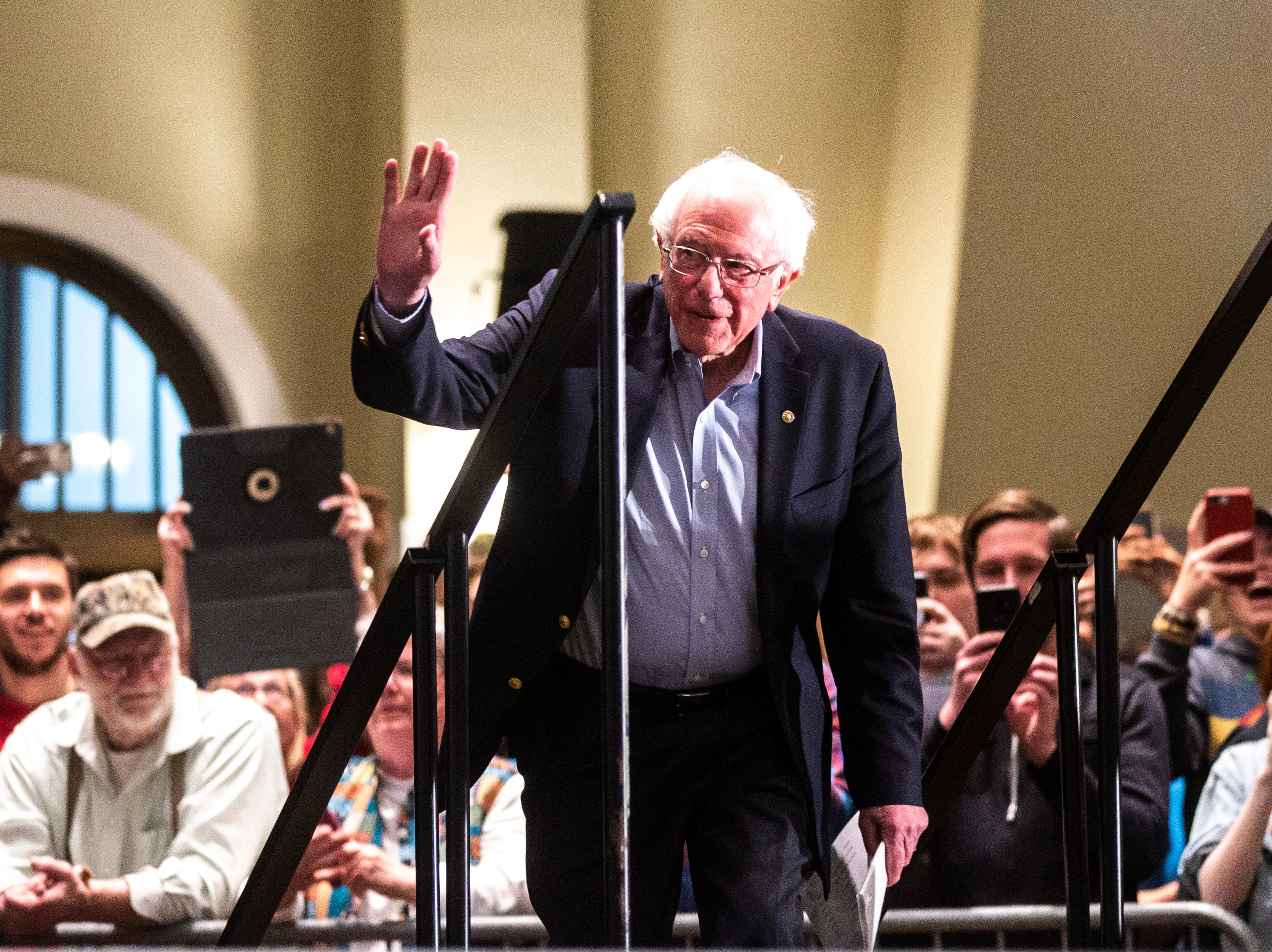 U.S. Sen. Bernie Sanders, I-VT, walks out to the stage at an event during his first trip to the state ahead of the caucus, Friday, March 8, 2019, at the Iowa Memorial Union on the University of Iowa campus in Iowa City, Iowa.