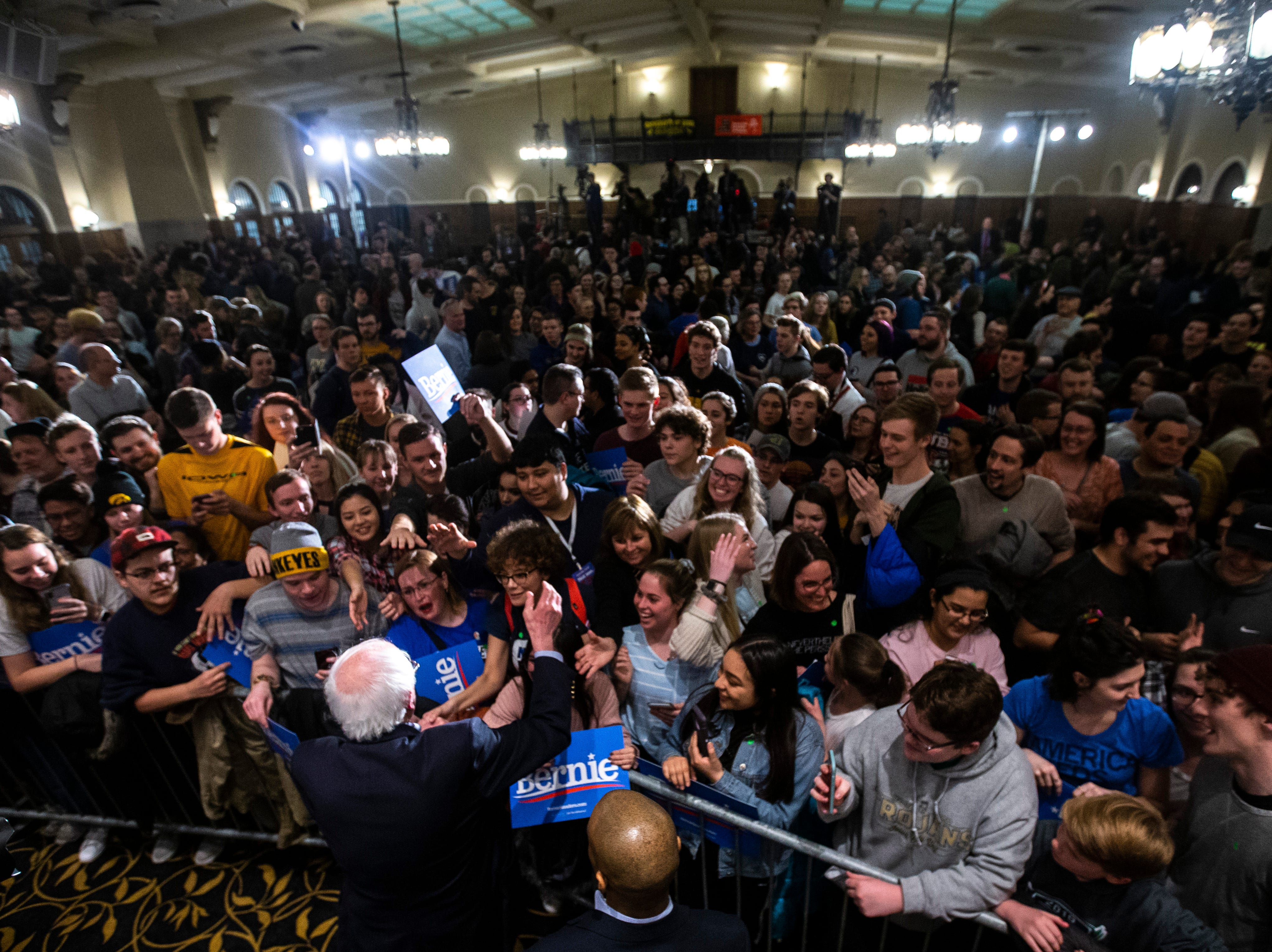 U.S. Sen. Bernie Sanders, I-VT, shakes hands with supporters after speaking at an event during his first trip to the state ahead of the caucus, Friday, March 8, 2019, at the Iowa Memorial Union on the University of Iowa campus in Iowa City, Iowa. The official crowd size from the campaign was 1,804, including the overflow crowd that Sanders spoke to before his main speech.