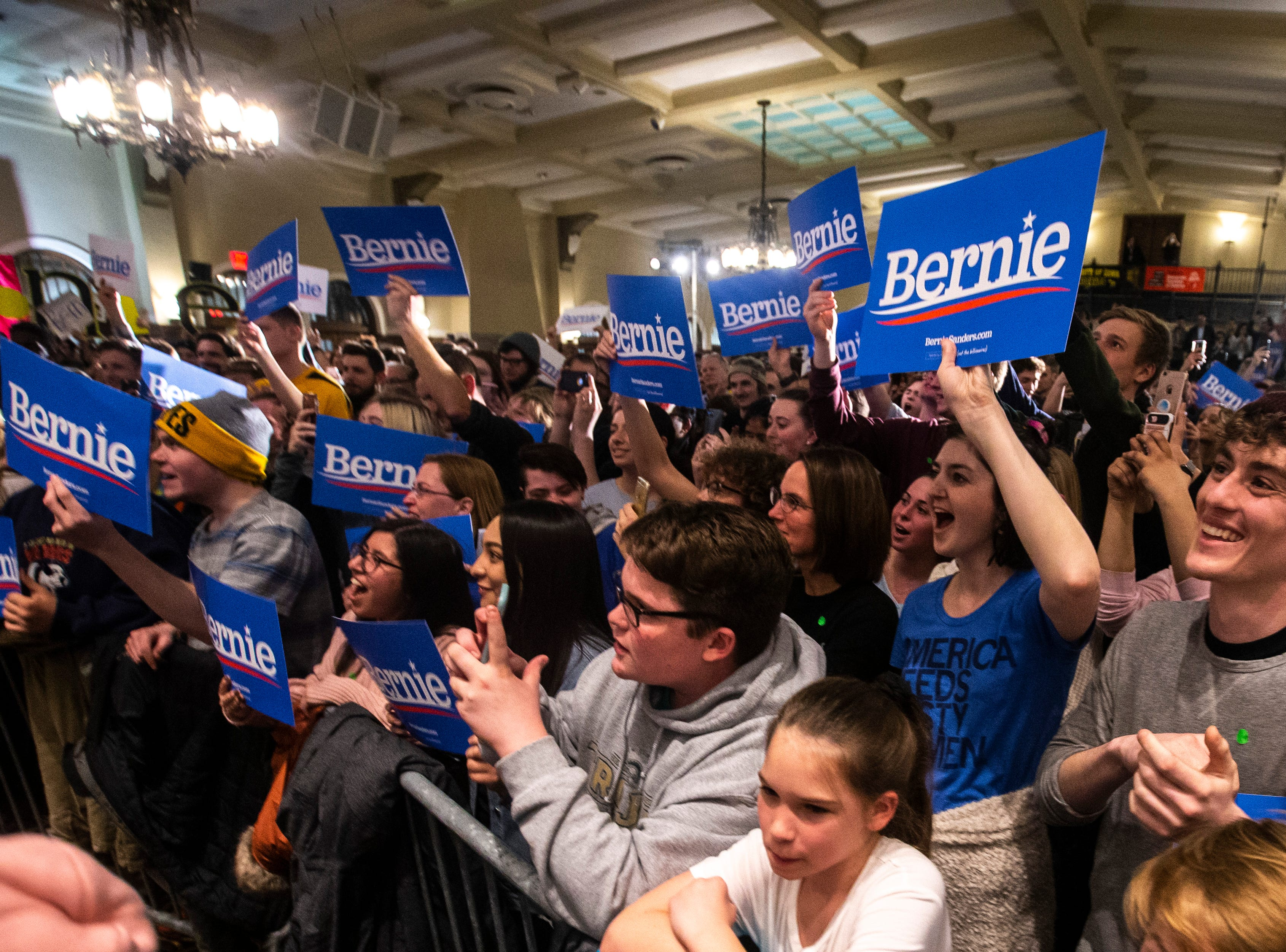 Members of the crowd cheer for U.S. Sen. Bernie Sanders, I-VT, at an event during his first trip to the state ahead of the caucus, Friday, March 8, 2019, at the Iowa Memorial Union on the University of Iowa campus in Iowa City, Iowa.