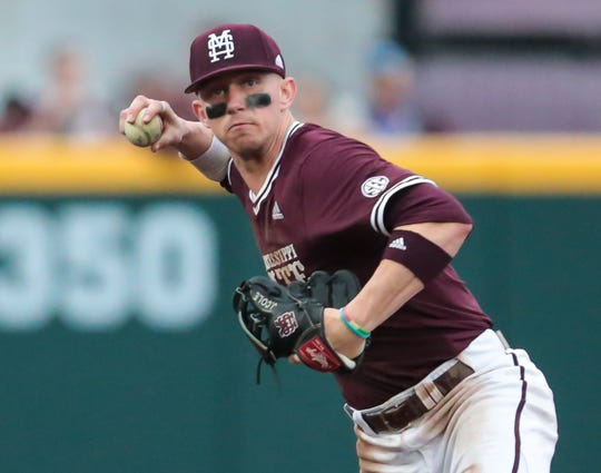 Mississippi State shortstop Jordan Westburg makes a throw to first. Westburg has been one of the Bulldogs' best batters this season as well. Photo by Keith Warren