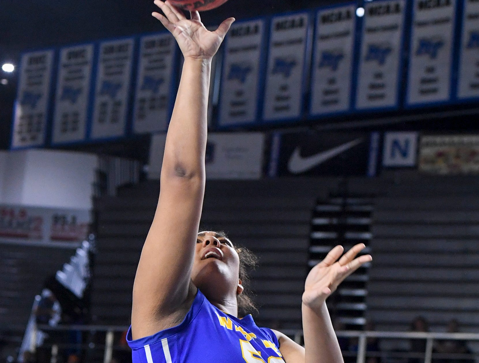 Westview's Raegan Johnson (50) goes up for a shot during their Class AA championship game against Cheatham County, Saturday, March 9, 2019, in Murfreesboro.