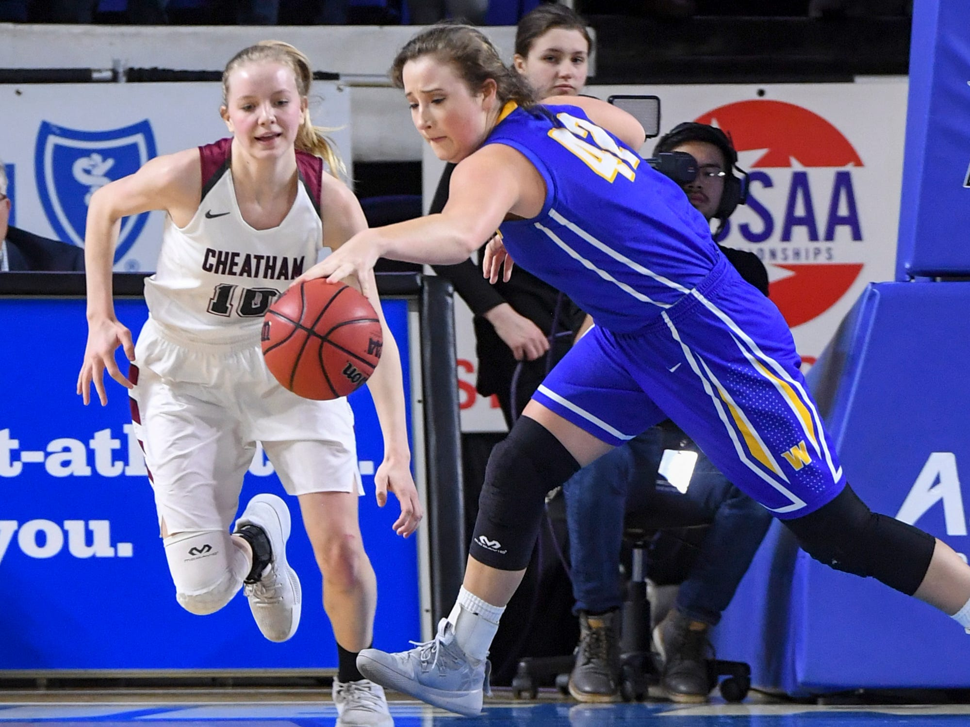 Westview's Blaine McDonald (42) reaches out to steal the ball from Cheatham County's Abbi Douglas (10) during their Class AA championship game, Saturday, March 9, 2019, in Murfreesboro.