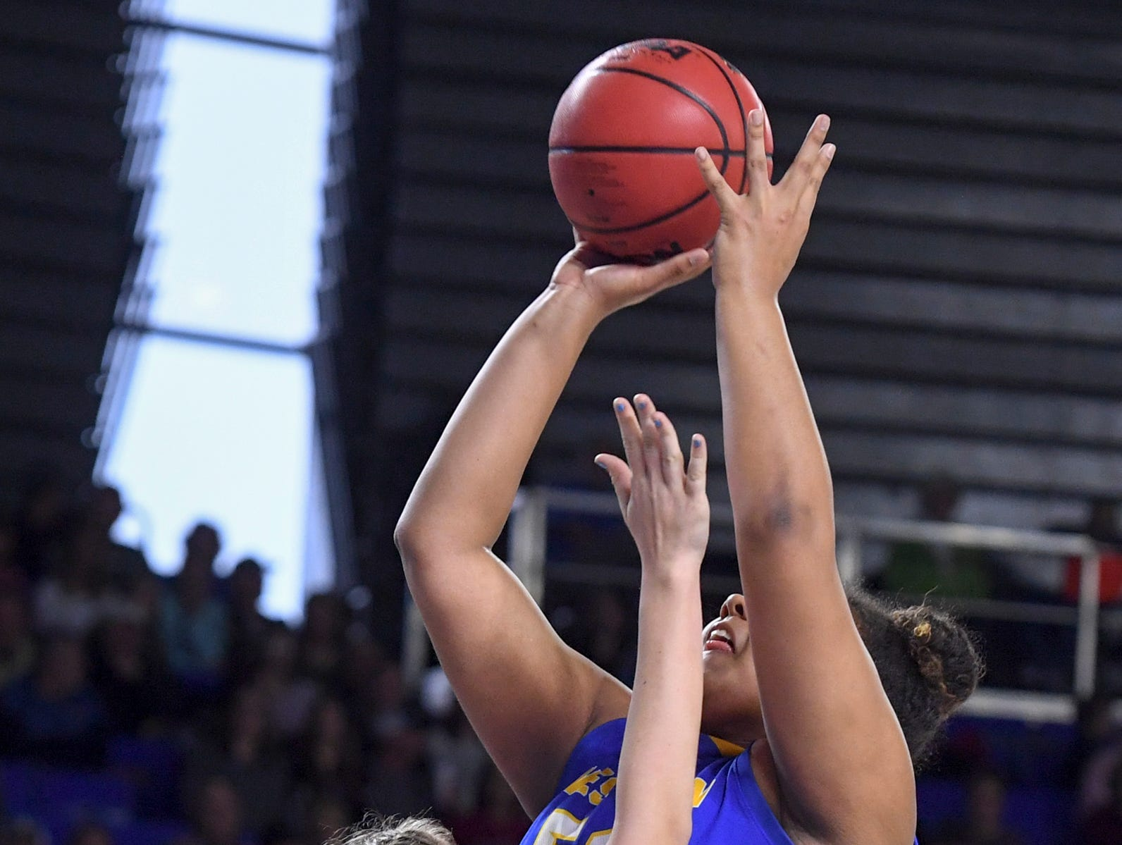 Westview's Raegan Johnson (50) goes up for a shot over Cheatham County's Alli Douglas (24) during their Class AA championship game, Saturday, March 9, 2019, in Murfreesboro. Westview fell to Cheatham County, 43-40.