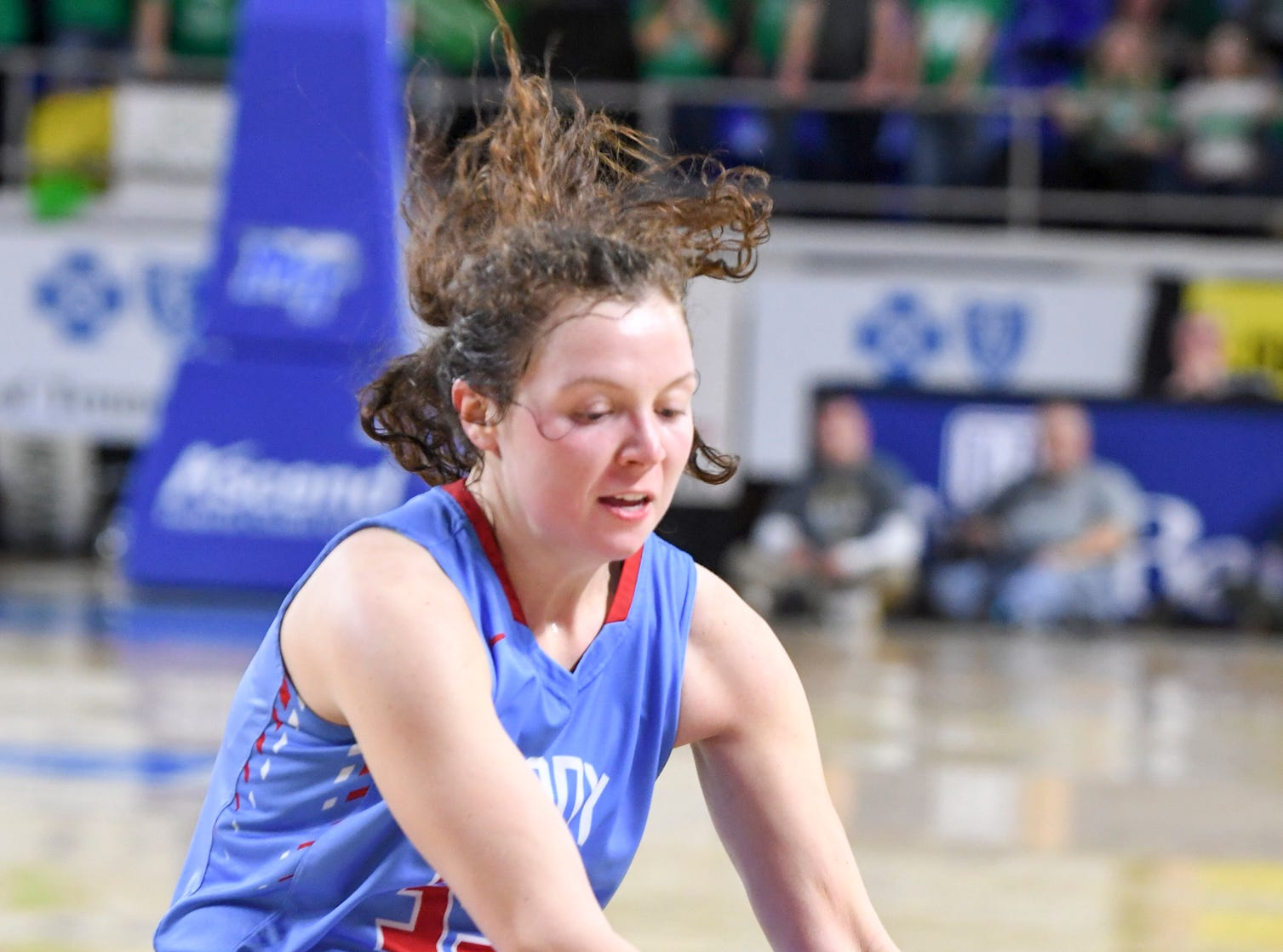 Gibson County's Hannah Ball (35) goes after a loose ball during their Class A semifinal game against Midway, Friday, March 8, 2019, in  Murfreesboro. Gibson County defeated Midway, 75-61.