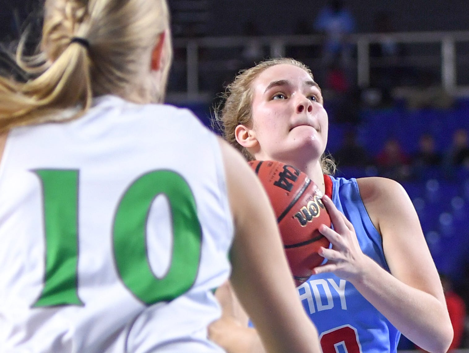 Gibson County's Kaci Sweatt (10) attempts to get past Midway's Heaven Prinzi (10) during their Class A semifinal game, Friday, March 8, 2019, in  Murfreesboro.