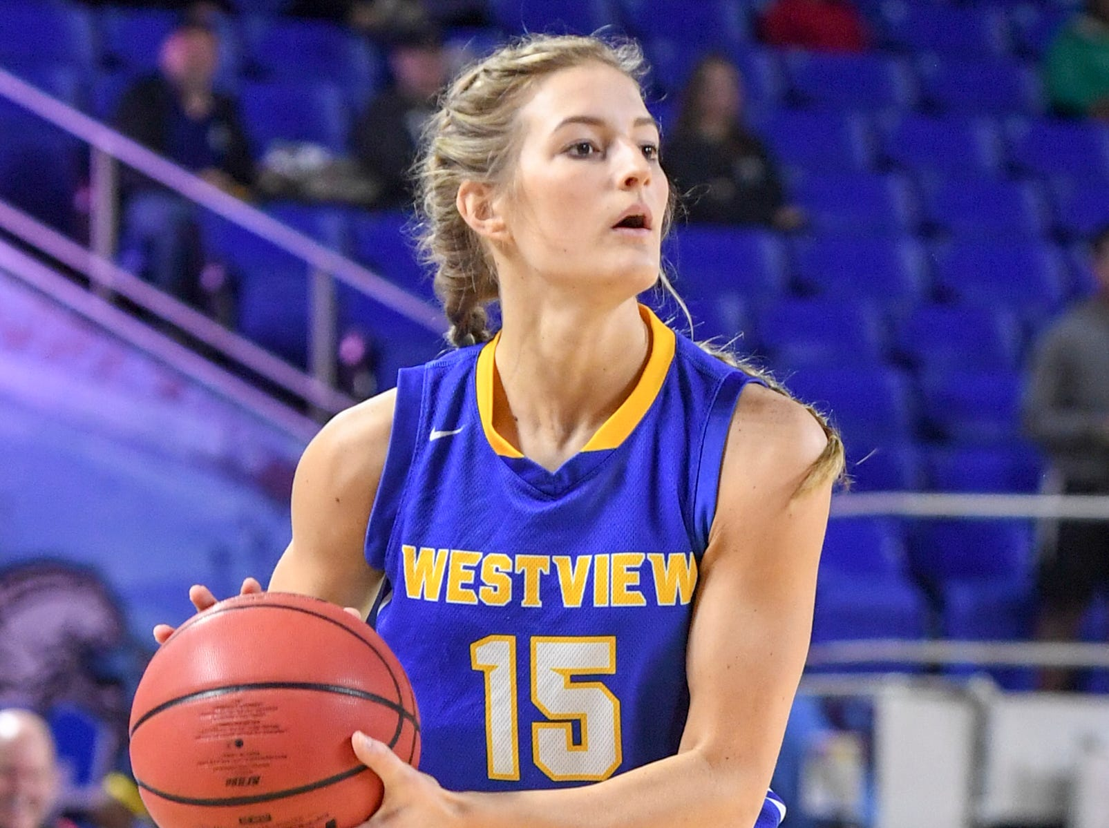 Westview's Alex Callins (15) looks for an open teammate to pass to during their Class AA championship game, Saturday, March 9, 2019, in Murfreesboro.