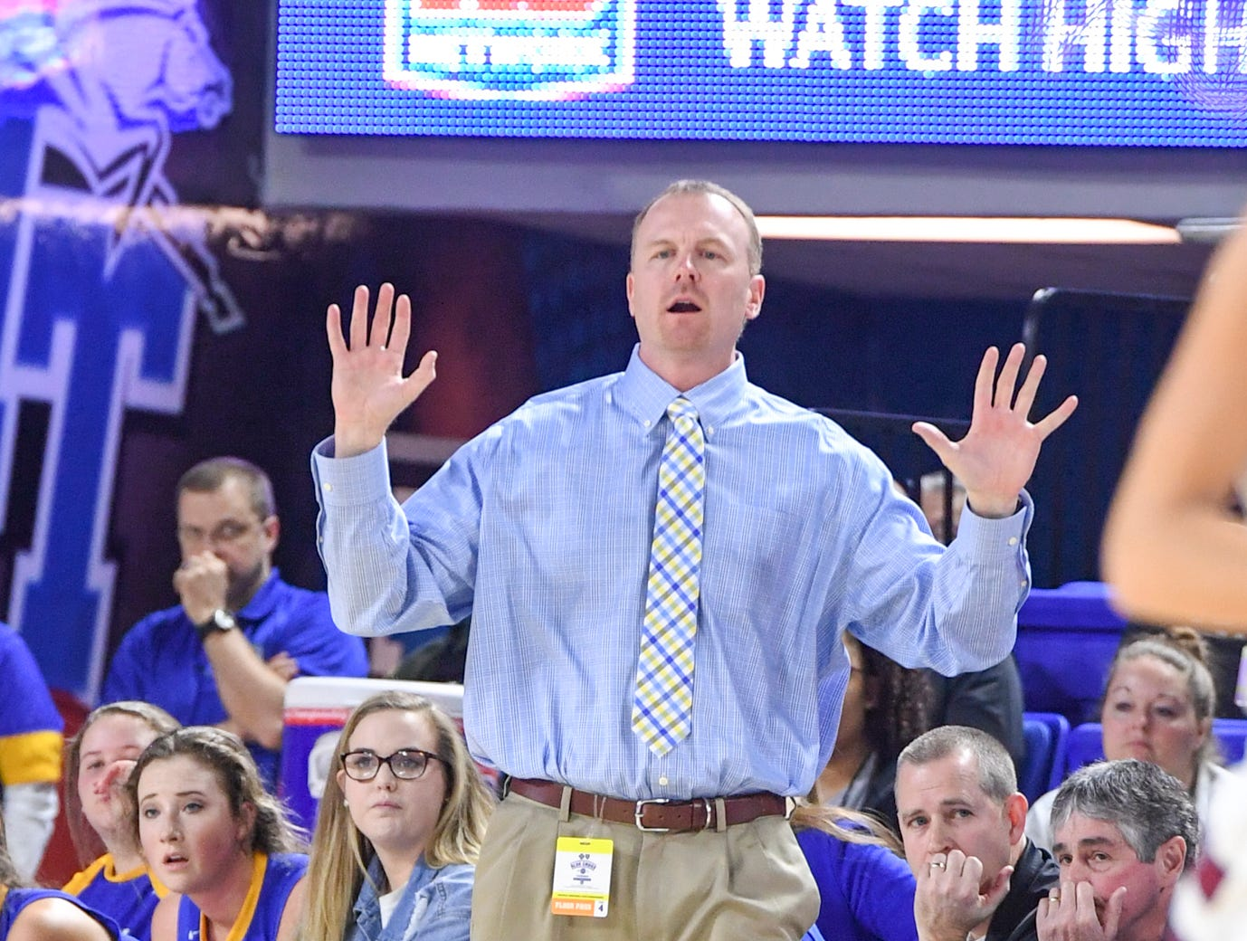 Westview's head coach Brian Haskins calls out a play to his team during their Class AA championship game against Cheatham County, Saturday, March 9, 2019, in Murfreesboro.