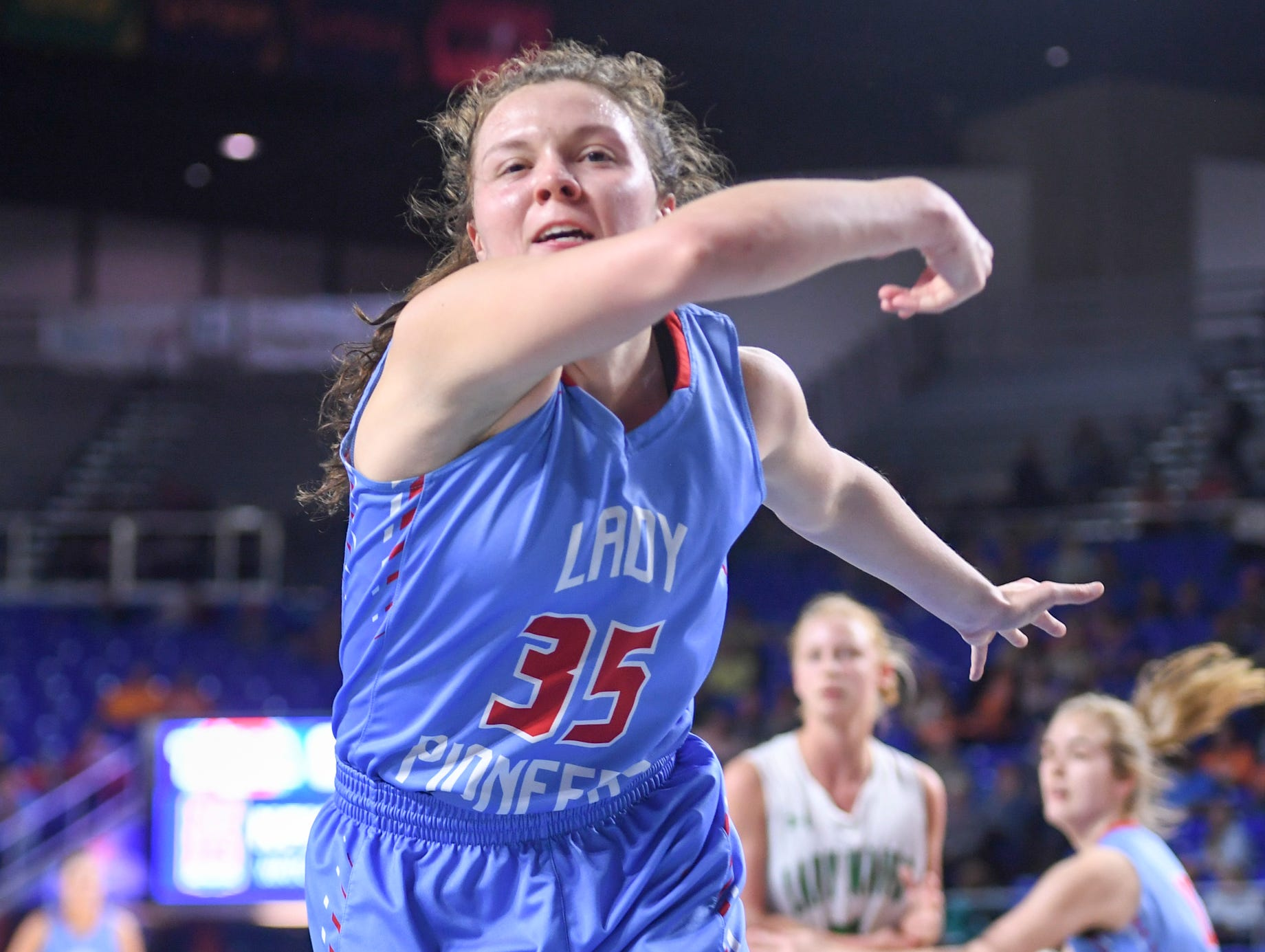 Gibson County's Hannah Ball (35) attempts to save a ball from going out of bounds during their Class A semifinal game against Midway, Friday, March 8, 2019, in  Murfreesboro.
