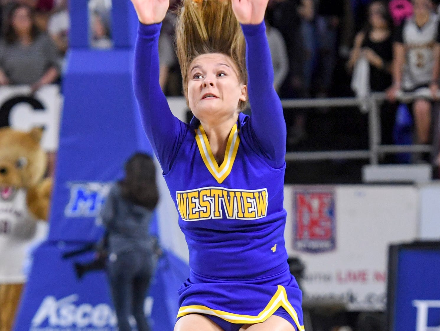 Westview High School cheerleader Kaylee Tims does back flips during a timeout during their Class AA championship game, Saturday, March 9, 2019, in Murfreesboro. Westview fell to Cheatham County, 43-40.