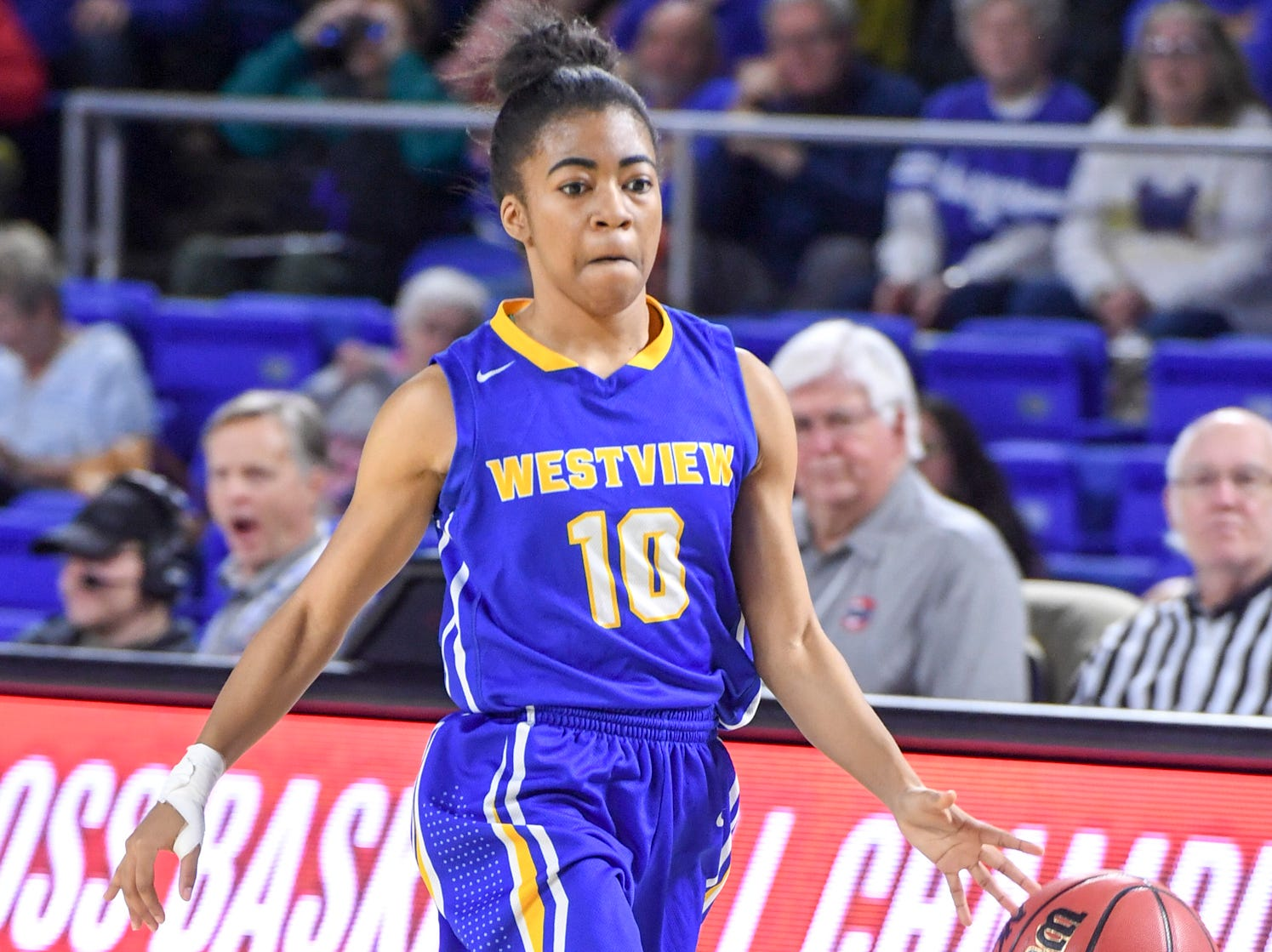 Westview's Zanasha Gadlen (10) scored 3 points in the first half of their Class AA championship game against Cheatham County, Saturday, March 9, 2019, in Murfreesboro.