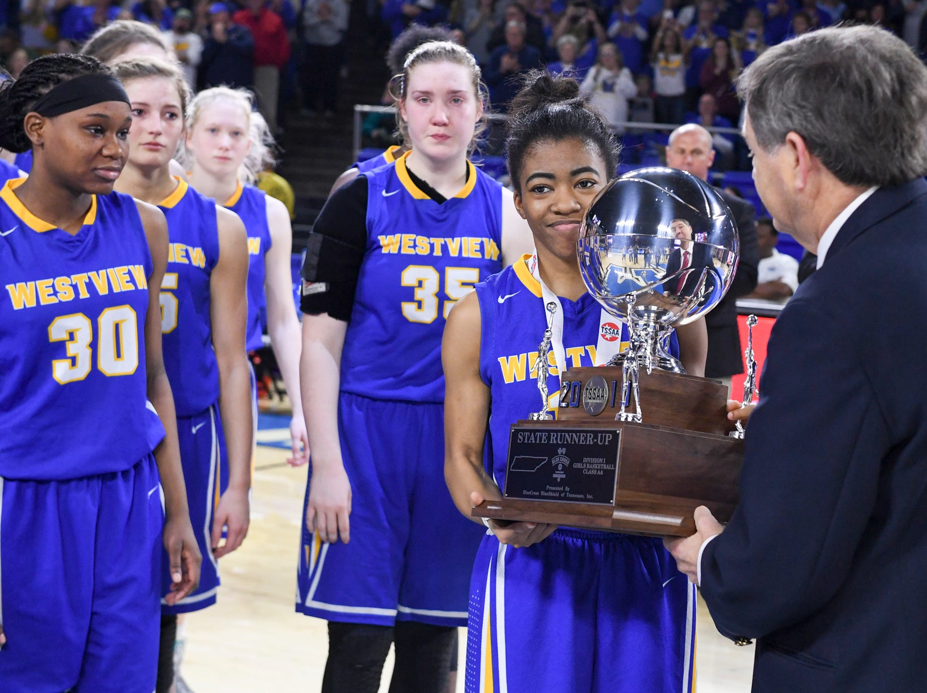 Westview's Zanasha Gadlen (10) received the 2019 Class AA state runner-up trophy, Saturday, March 9, 2019, in Murfreesboro. Westview fell to Cheatham County, 43-40.