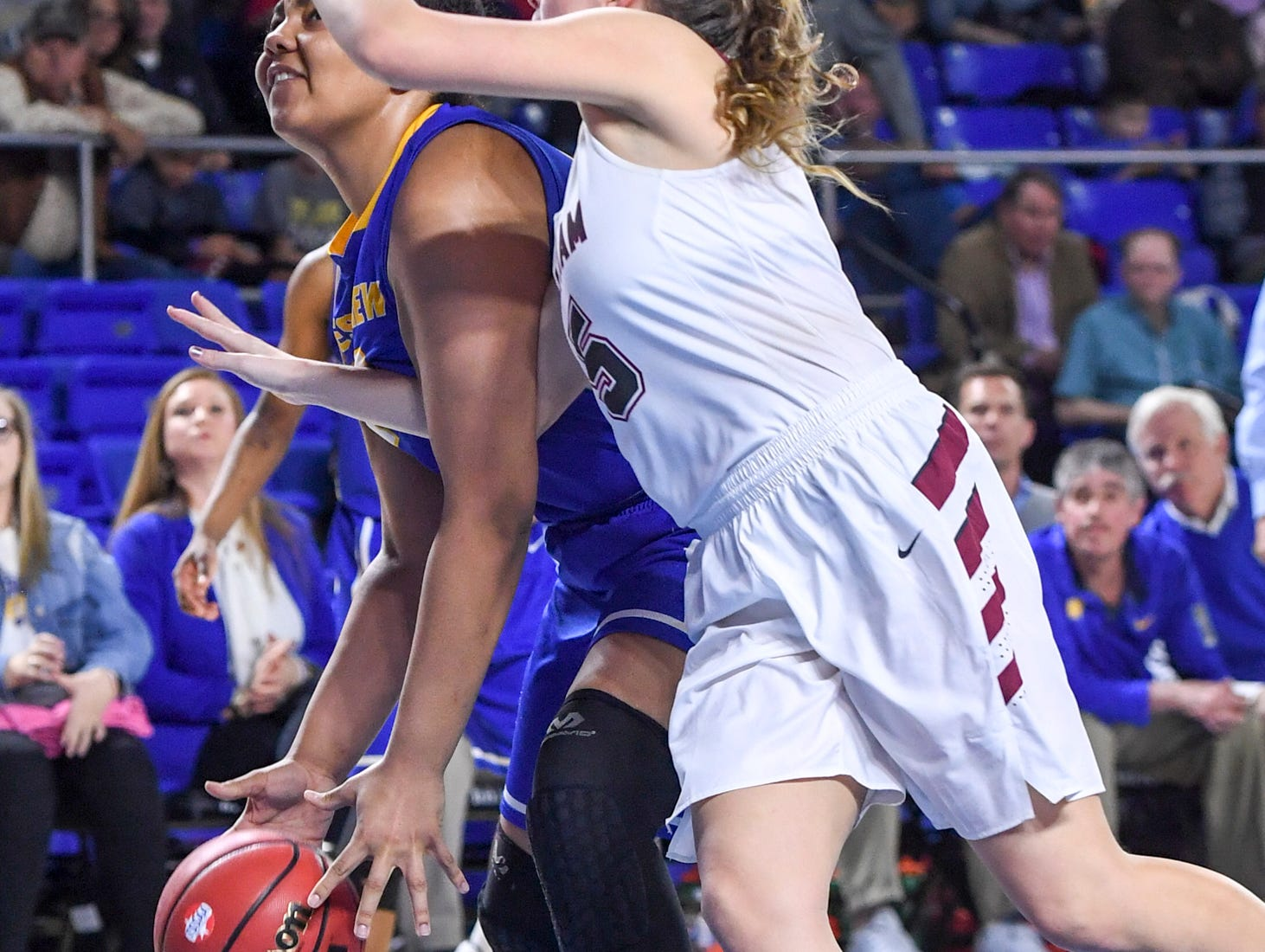Westview's Raegan Johnson (50) draws a foul on a Cheatham County defender during their Class AA championship game, Saturday, March 9, 2019, in Murfreesboro. Westview fell to Cheatham County, 43-40.