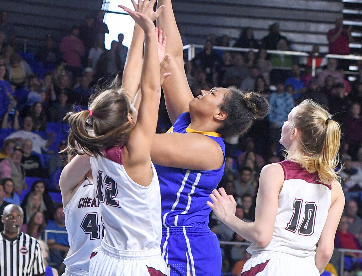 Westview's Raegan Johnson (50) puts up a shot over two Cheatam County defenders during their Class AA championship game, Saturday, March 9, 2019, in Murfreesboro. Westview fell to Cheatham County, 43-40.