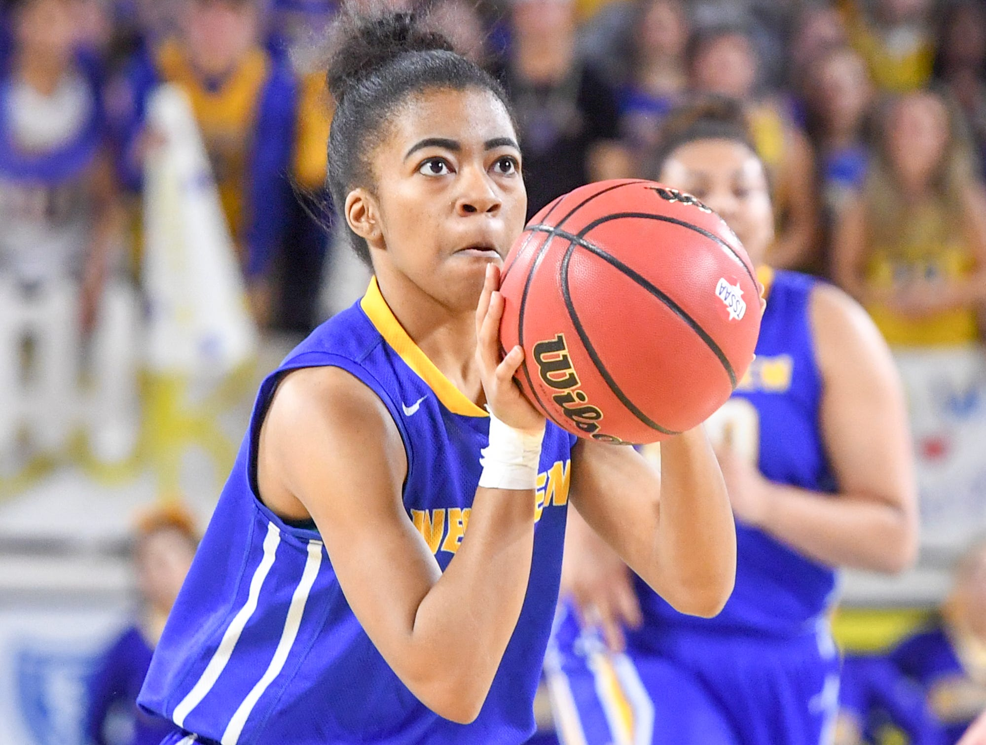 Westview's Zanasha Gadlen (10) spots up for one of her 3-pointers during their Class AA championship game against Cheatham County, Saturday, March 9, 2019, in Murfreesboro.