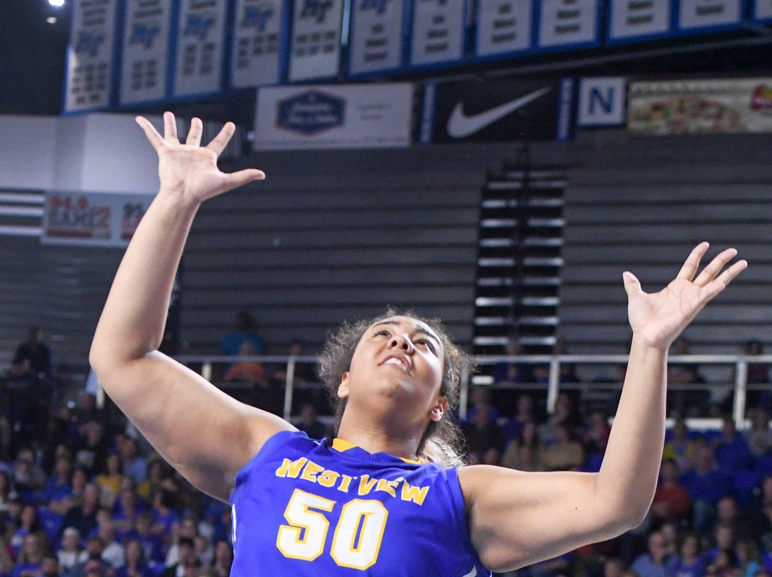 Westview's Raegan Johnson (50) reaches up to grab a rebound during their Class AA championship game against Cheatham County, Saturday, March 9, 2019, in Murfreesboro.