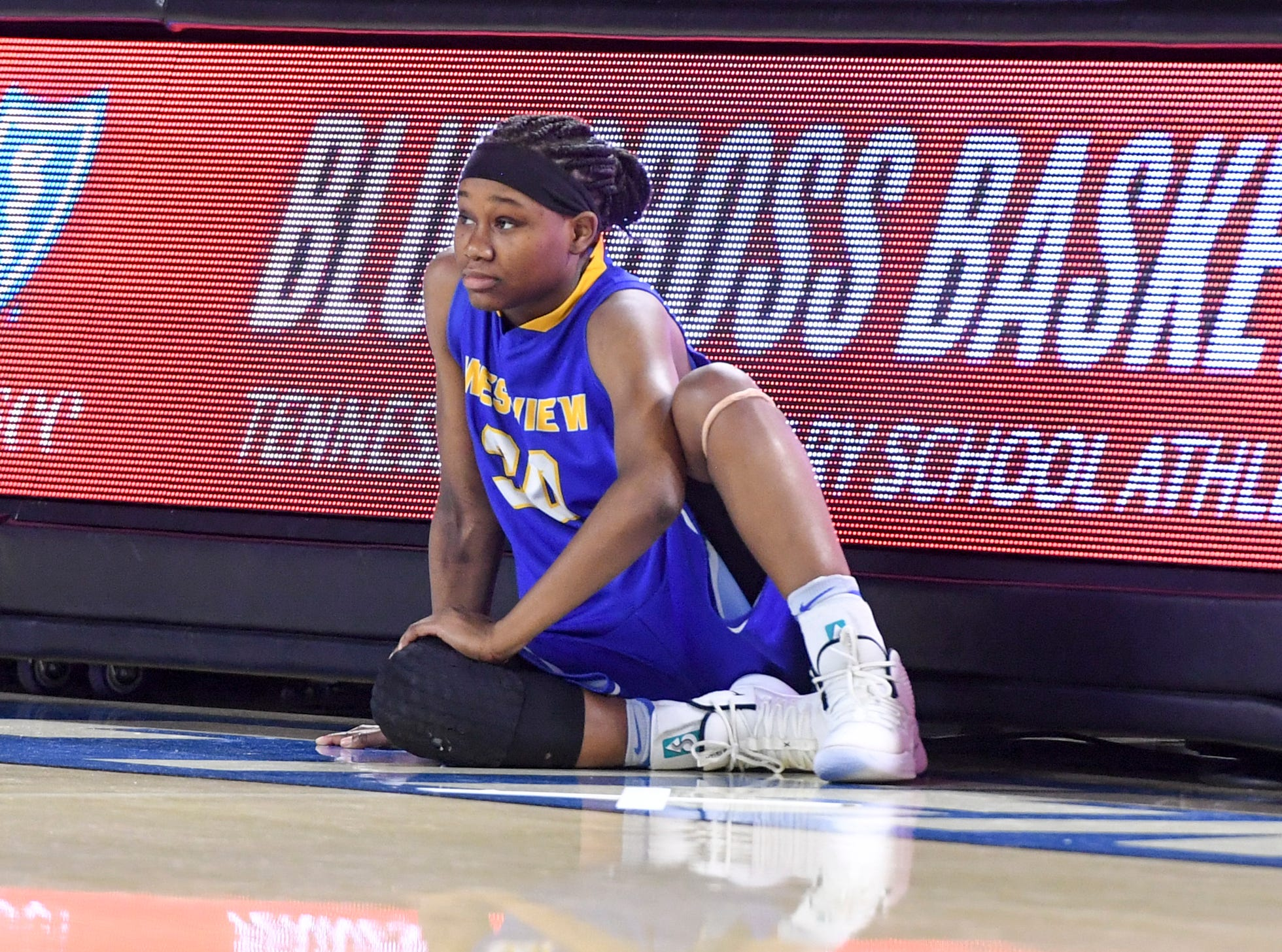 Westview's Tiara Yancey (30) waits at the scores table to be substituted in during their Class AA championship game against Cheatham County, Saturday, March 9, 2019, in Murfreesboro.