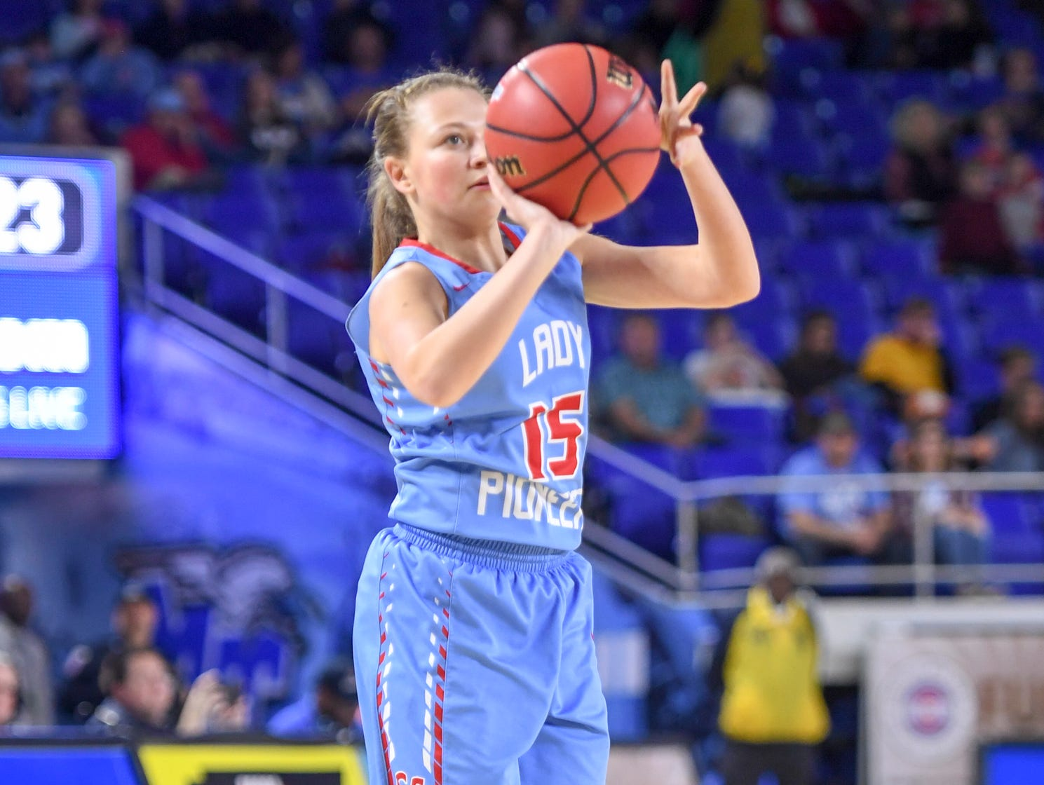 Gibson County's Jaci White (15) pulls up for a three pointer during their Class A semifinal game against Midway, Friday, March 8, 2019, in  Murfreesboro.