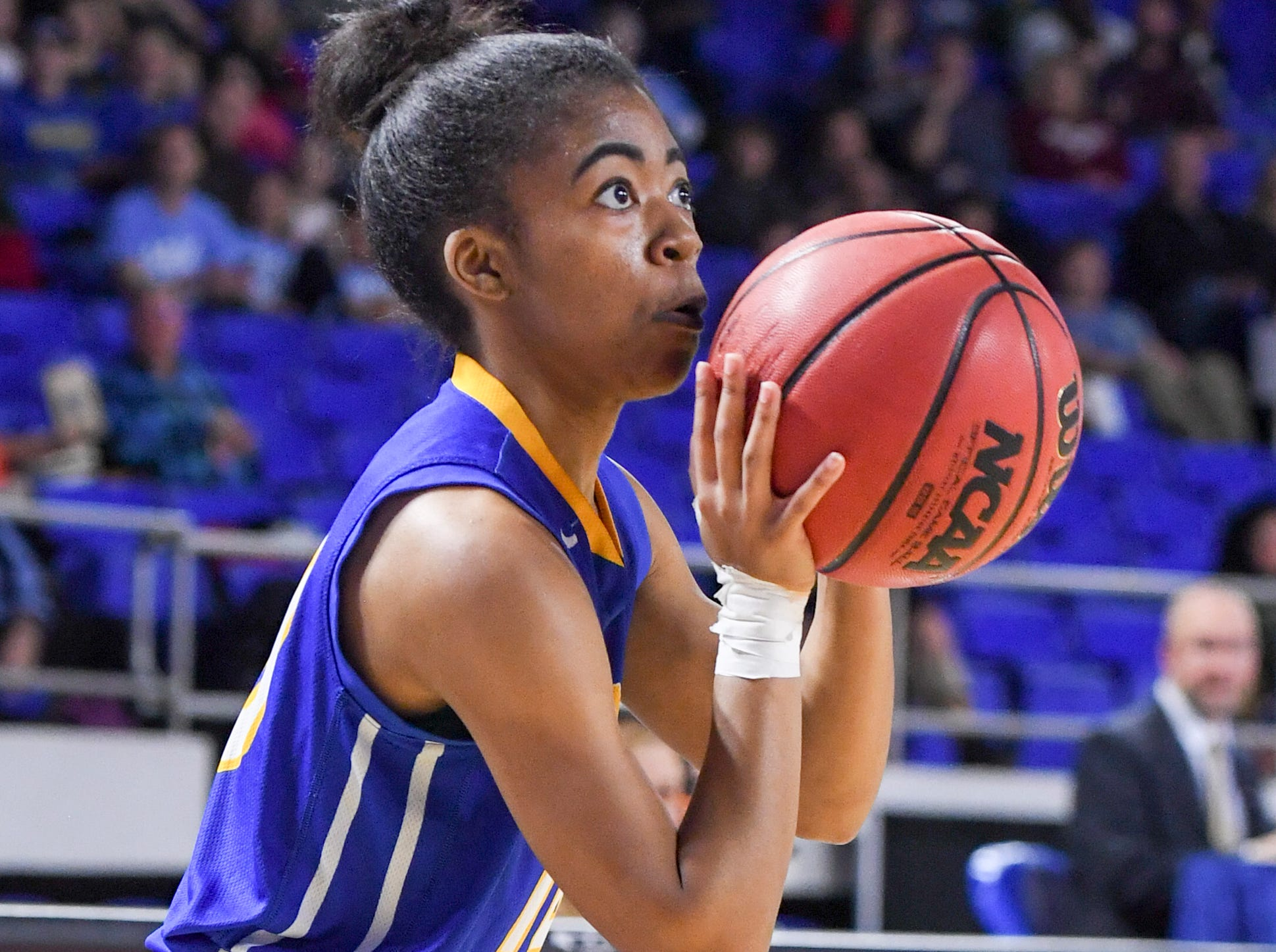 Westview's Zanasha Gadlen (10) spots up for a three during their Class AA championship game against Cheatham County, Saturday, March 9, 2019, in Murfreesboro.