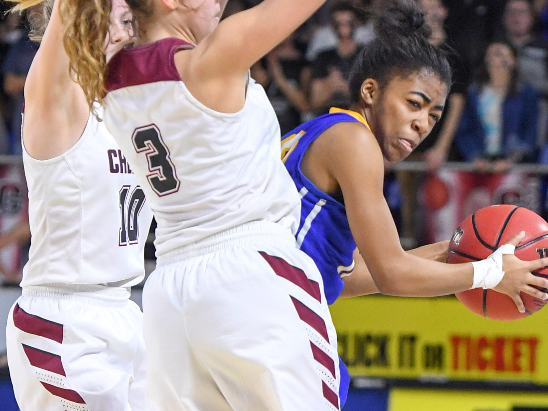 Westview's Zanasha Gadlen (10) is trapped by Cheatham County's Abbi Douglas (10) and Cheatham County's Emmy Nelson (3) during their Class AA championship game, Saturday, March 9, 2019, in Murfreesboro. Westview fell to Cheatham County, 43-40.