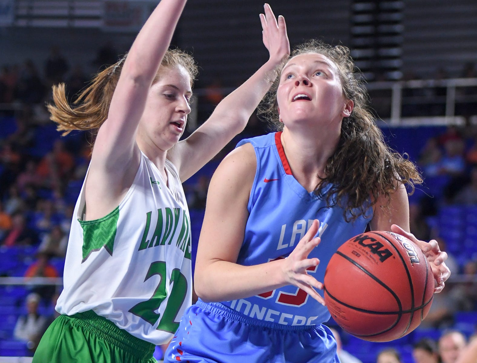 Midway's Emily Cawood (22) guards Gibson County's Hannah Ball (35) during their Class A semifinal game, Friday, March 8, 2019, in  Murfreesboro.