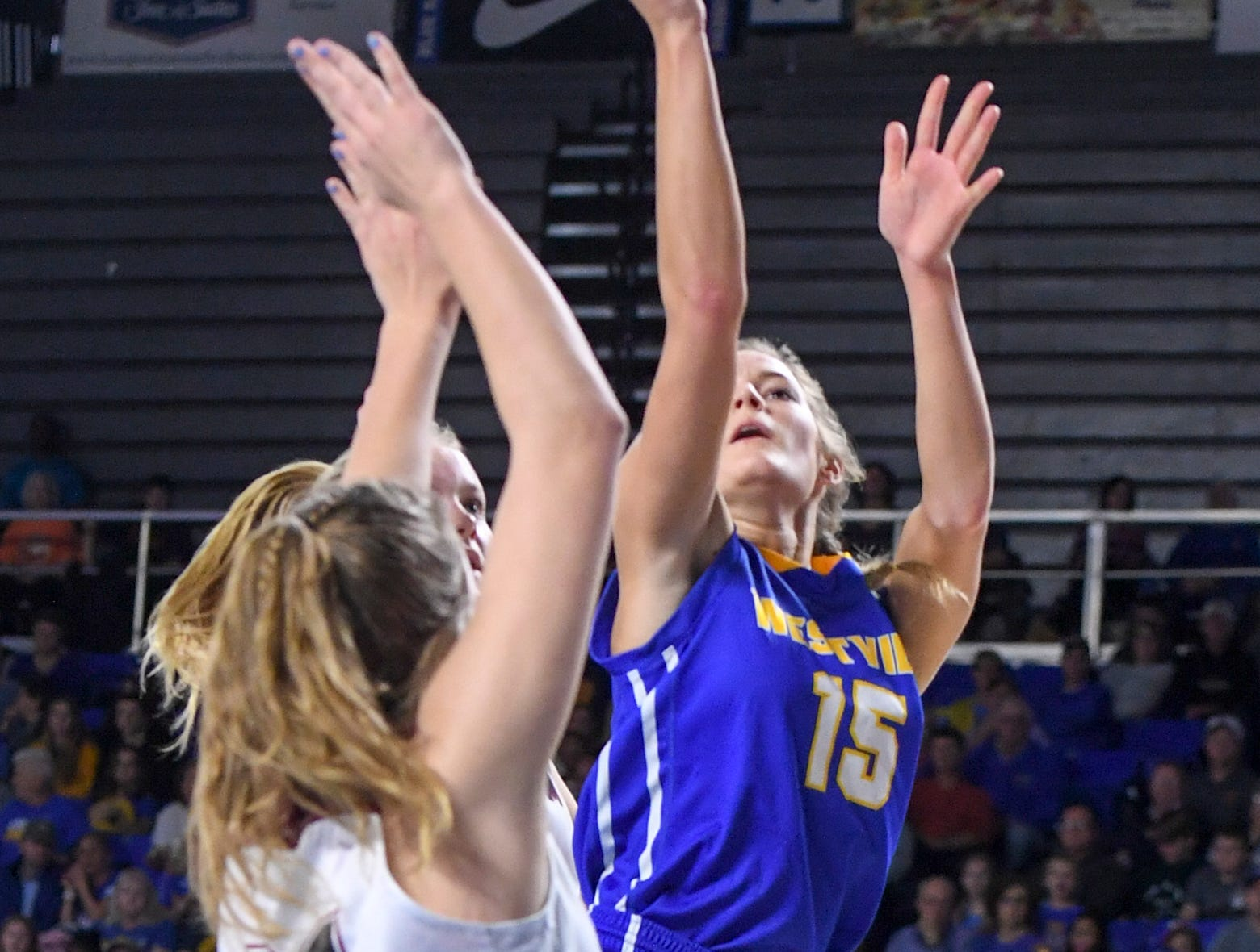Westview's Alex Callins (15) pulls up for a shot over Cheatham County's Alli Douglas (24) during their Class AA championship game, Saturday, March 9, 2019, in Murfreesboro.