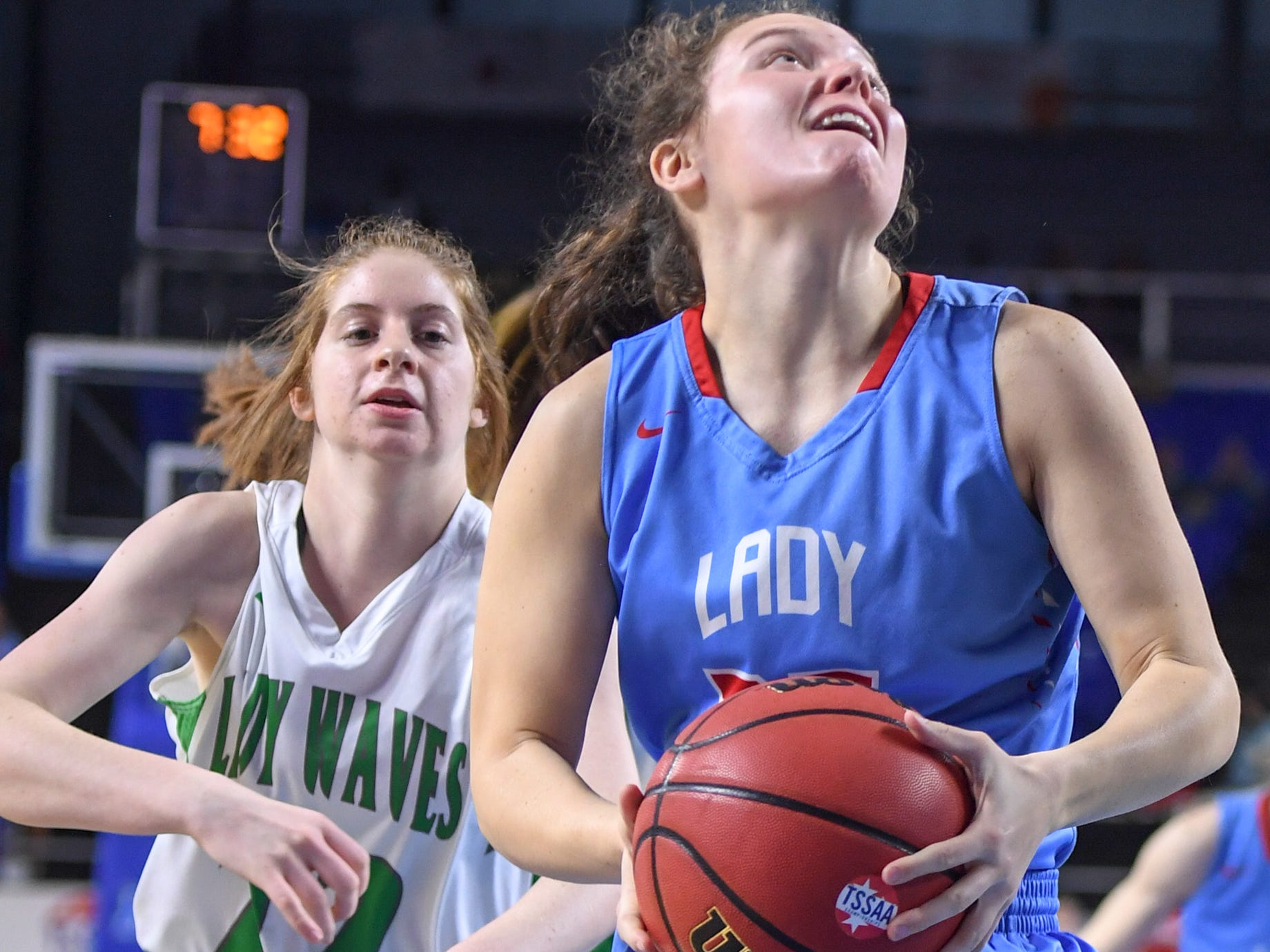 Gibson County's Hannah Ball (35) looks up at the basket for a shot before a Midway defender can reach her during their Class A semifinal game, Friday, March 8, 2019, in  Murfreesboro.