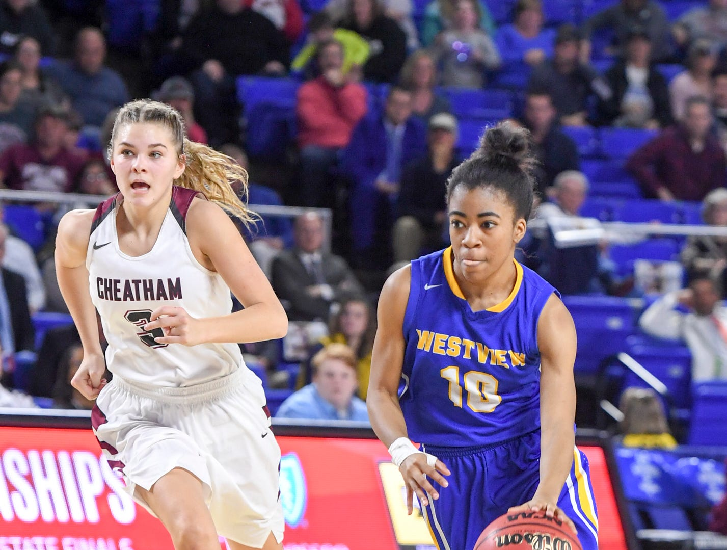Westview's Zanasha Gadlen (10) dribbles to the paint during their Class AA championship game against Cheatham County, Saturday, March 9, 2019, in Murfreesboro. Westview fell to Cheatham County, 43-40.