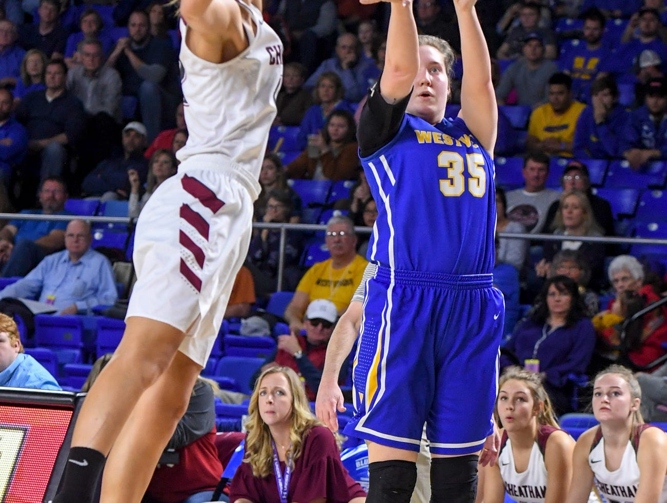Westview's Avery Leyhue (35) pulls up for a three as a Cheatam County defender reaches up to block her shot during their Class AA championship game, Saturday, March 9, 2019, in Murfreesboro.