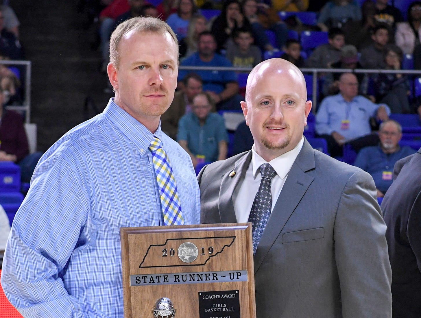 Westview's head coach Brian Haskins received the state runner-up coach's plaque at the end of their Class AA championship game, Saturday, March 9, 2019, in Murfreesboro. Westview fell to Cheatham County, 43-40.