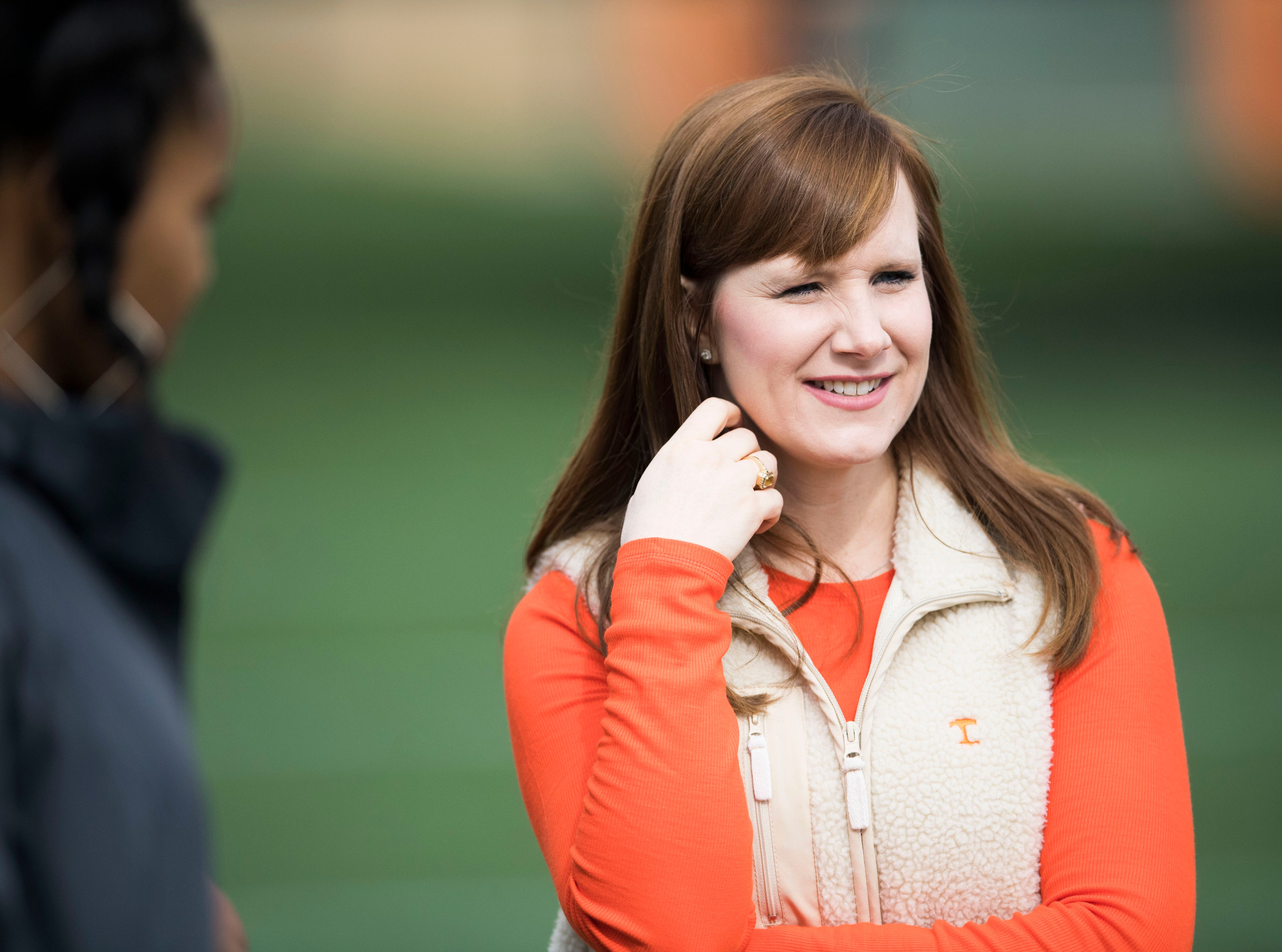 Tennessee head coach Jeremy Pruitt's wife Casey watches during a Tennessee Vols football spring practice Saturday, March 9, 2019.
