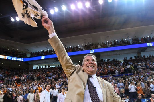 Auburn head coach Bruce Pearl celebrates his 84-80 win over Tennessee on March 9, 2019.