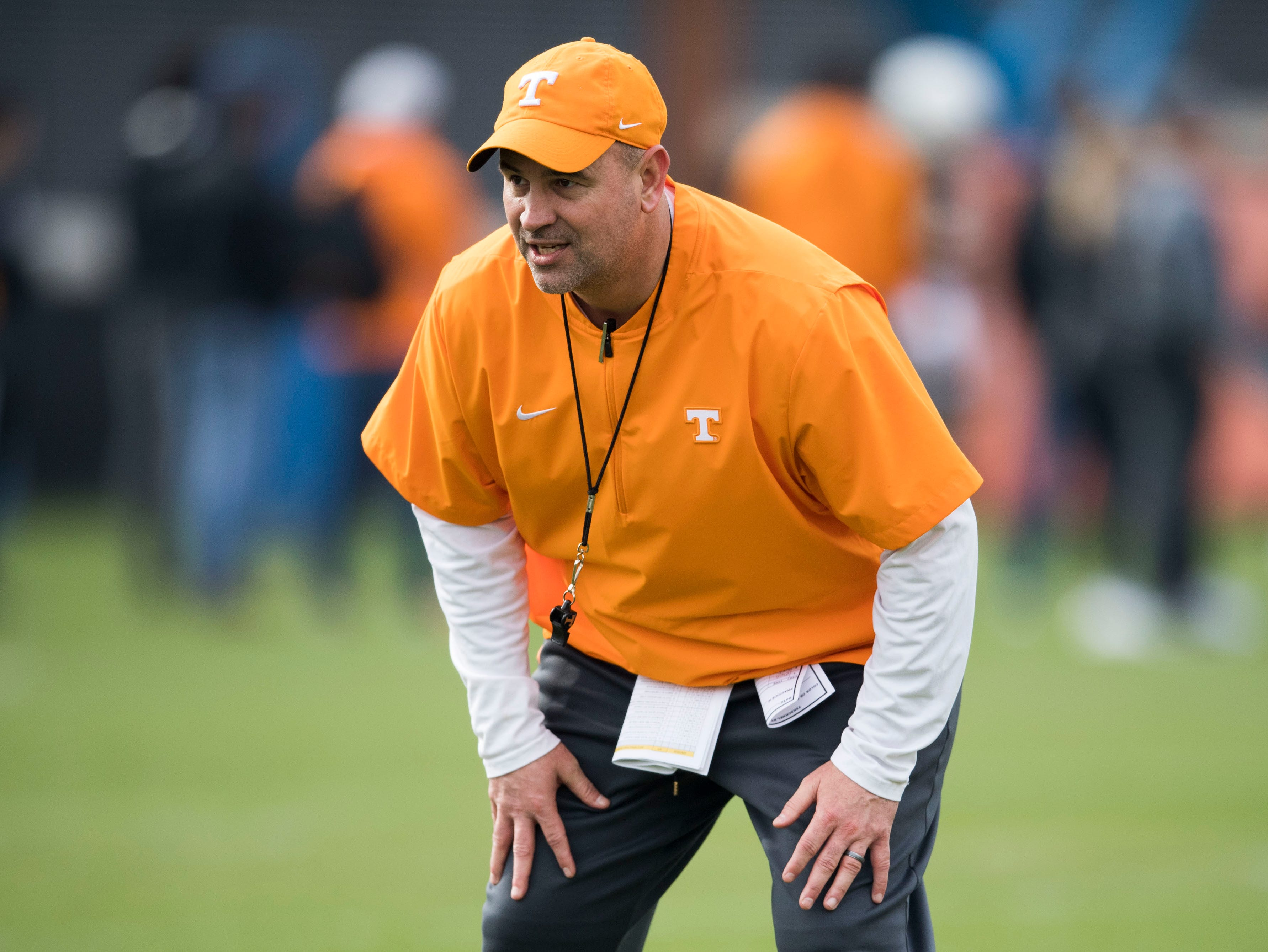 Tennessee head coach Jeremy Pruitt watches during a Tennessee Vols football spring practice Saturday, March 9, 2019.