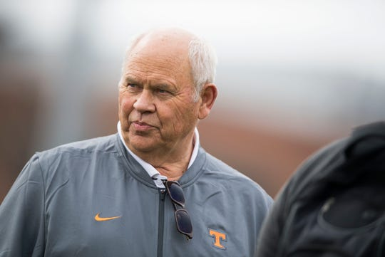 University of Tennessee athletic director Phillip Fulmer watches during a Tennessee Vols football spring practice Saturday, March 9, 2019.