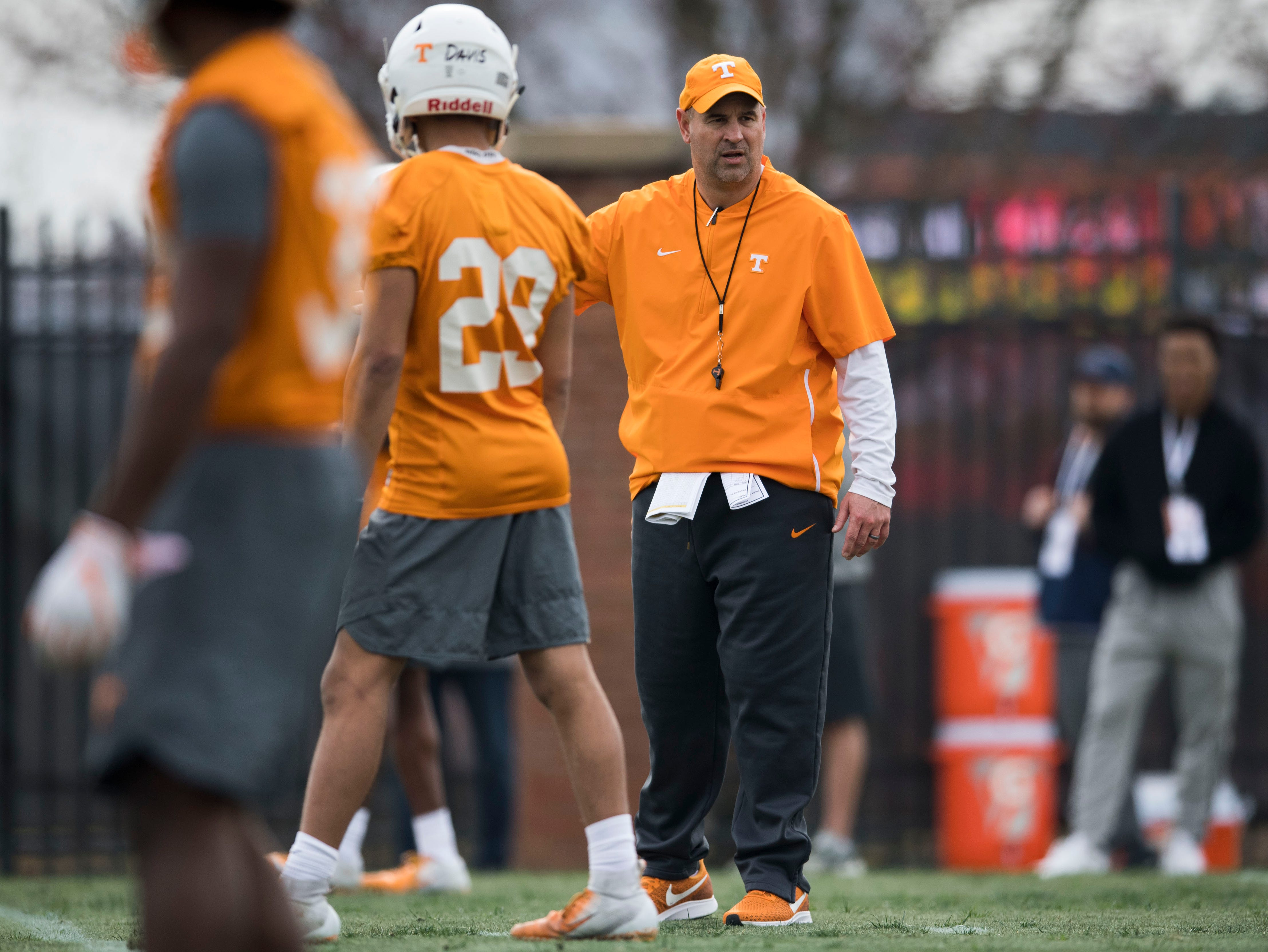 Tennessee head coach Jeremy Pruitt coaches during a Tennessee Vols football spring practice Saturday, March 9, 2019.