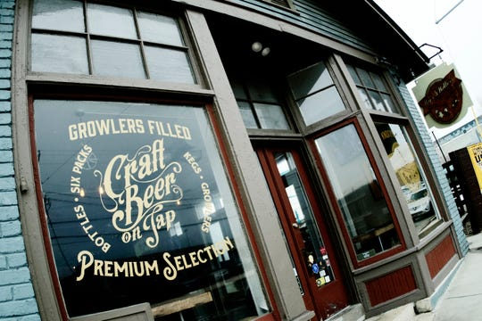 """Hops & Hollers on Central Ave. in Knoxville, Tennessee on Saturday, March 9, 2019. With 32 draft beers and 125 bottles and cans, the Knoxville bar was featured by craftbeer.com in its 2019 list of """"Great American Beer Bars."""""""