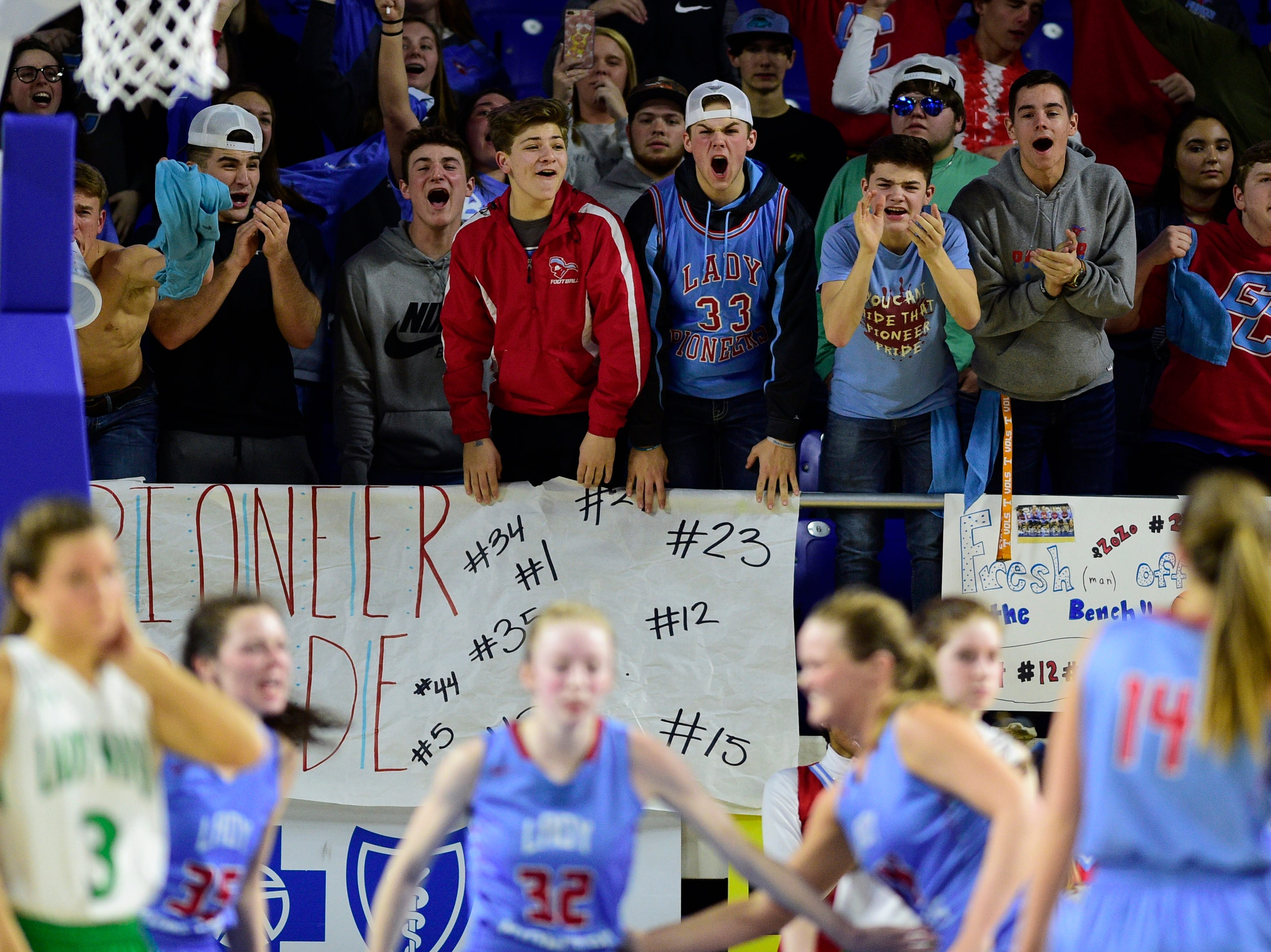 The Gibson County student fan section cheers during a game between Midway and Gibson County at the TSSAA girls state tournament at the Murphy Center in Murfreesboro, Tennessee on Friday, March 8, 2019.