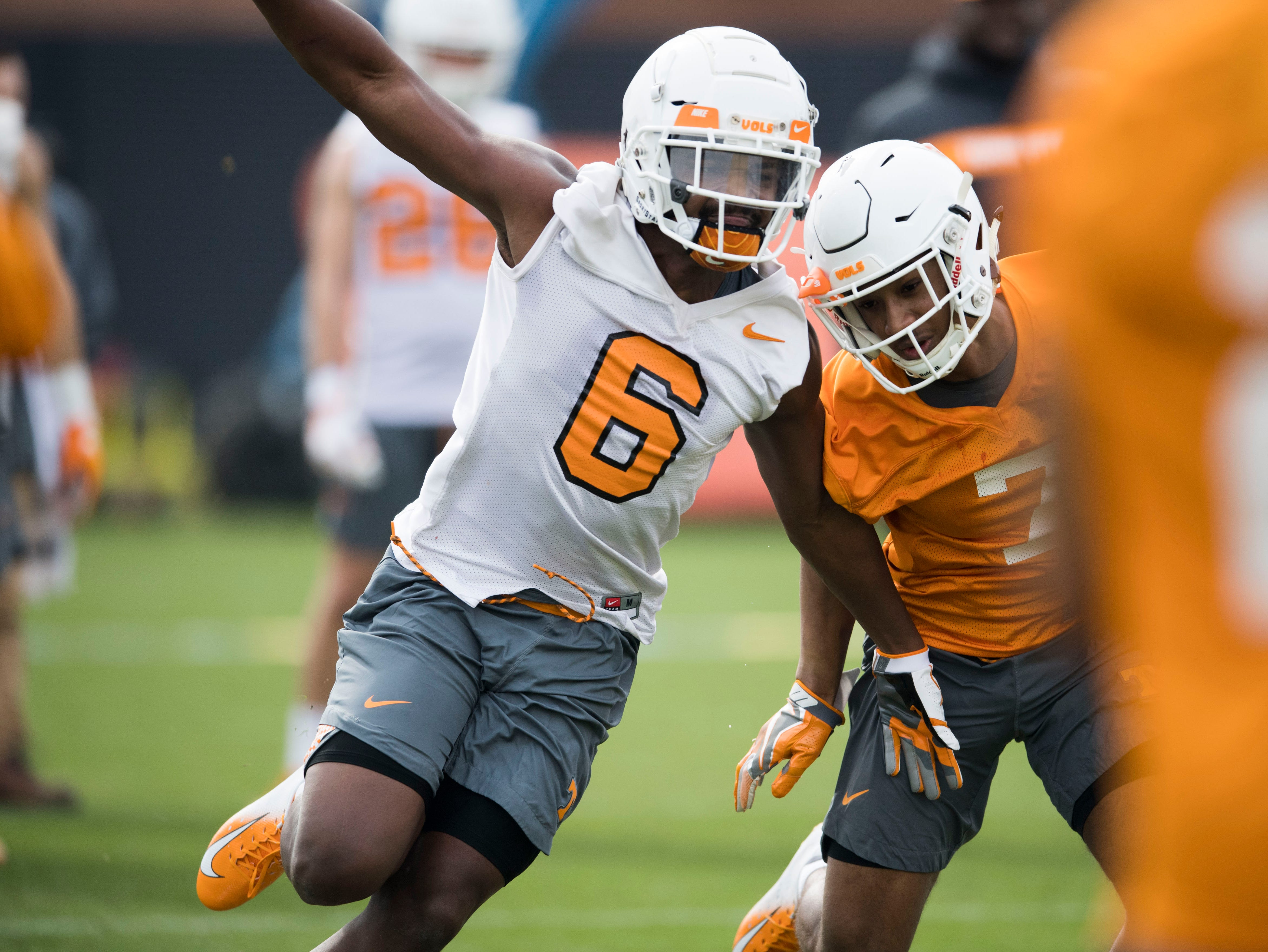Tennessee's Deangelo Gibbs (6) participates in a drill during a Tennessee Vols football spring practice Saturday, March 9, 2019.