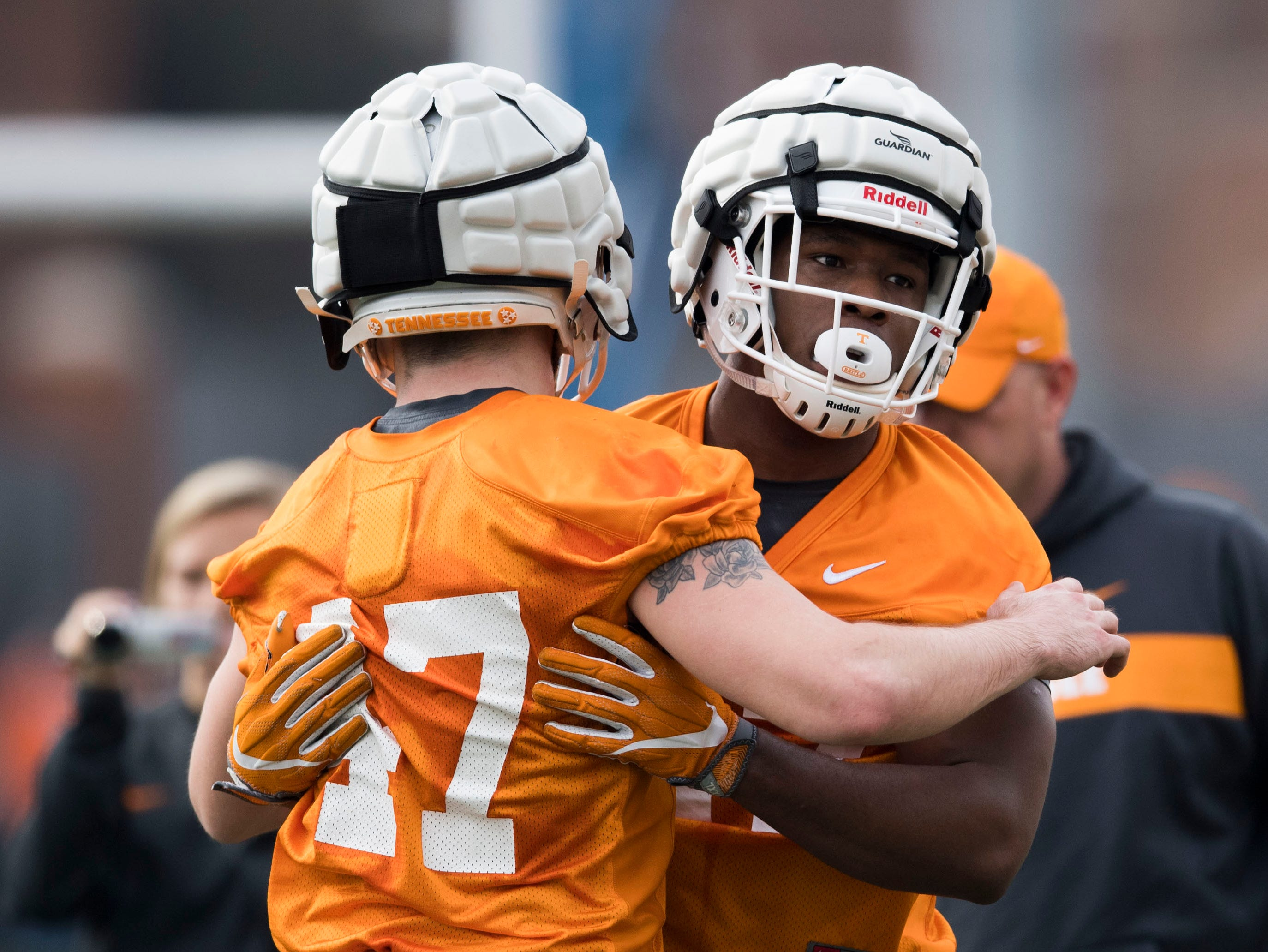 Players participate in a drill during a Tennessee Vols football spring practice Saturday, March 9, 2019.