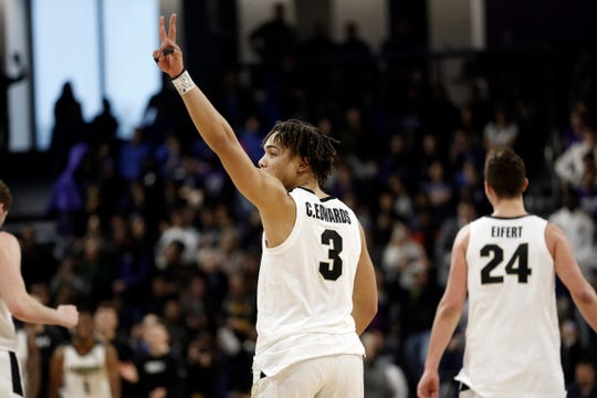 Mar 9, 2019; Evanston, IL, USA;  Purdue Boilermakers guard Carsen Edwards (3)  flashes the victory sign after defeating the Northwestern Wildcats at Welsh-Ryan Arena. Mandatory Credit: Nuccio DiNuzzo-USA TODAY Sports