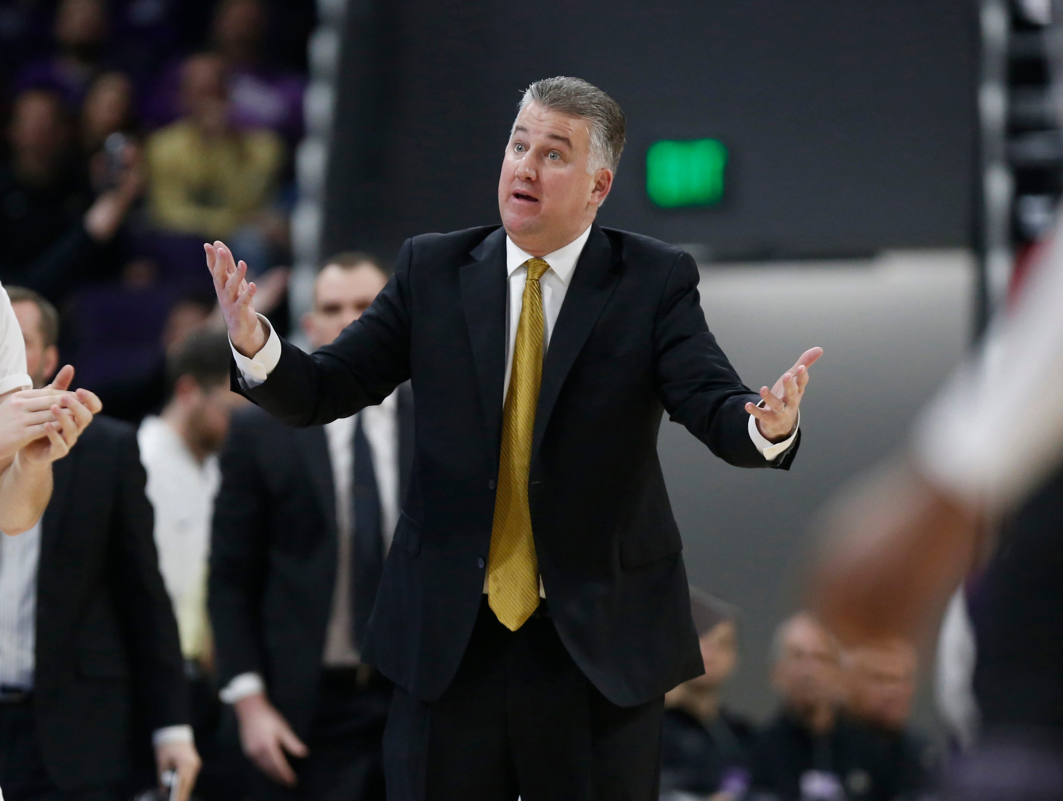 Mar 9, 2019; Evanston, IL, USA; Purdue Boilermakers head coach Matt Painter reacts during the first half against the Northwestern Wildcats at Welsh-Ryan Arena. Mandatory Credit: Nuccio DiNuzzo-USA TODAY Sports