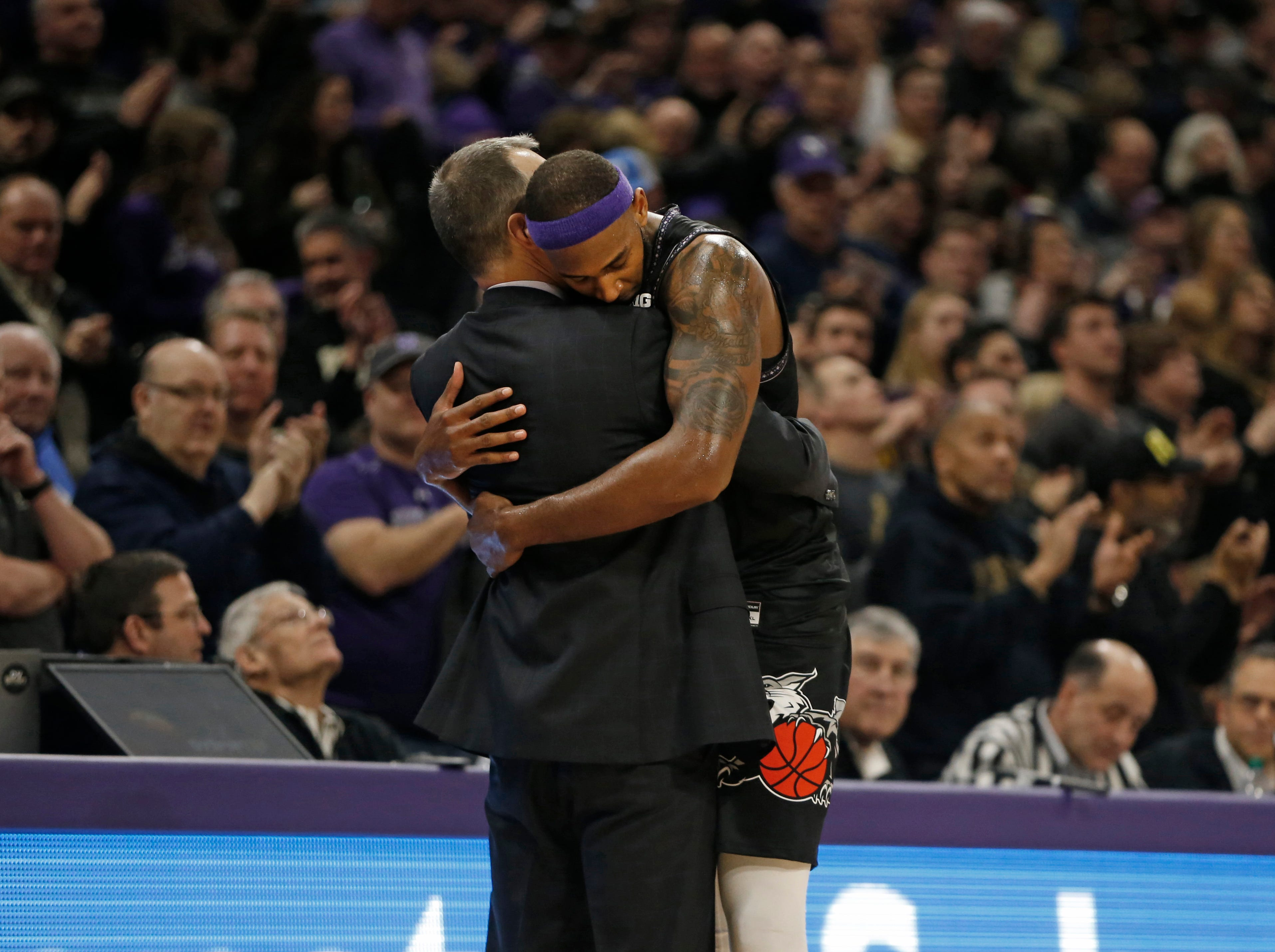 Mar 9, 2019; Evanston, IL, USA; Northwestern Wildcats center Dererk Pardon hugs head coach Chris Collins after leaving the game with seconds left on the clock during the second half against the Purdue Boilermakers at Welsh-Ryan Arena. Mandatory Credit: Nuccio DiNuzzo-USA TODAY Sports